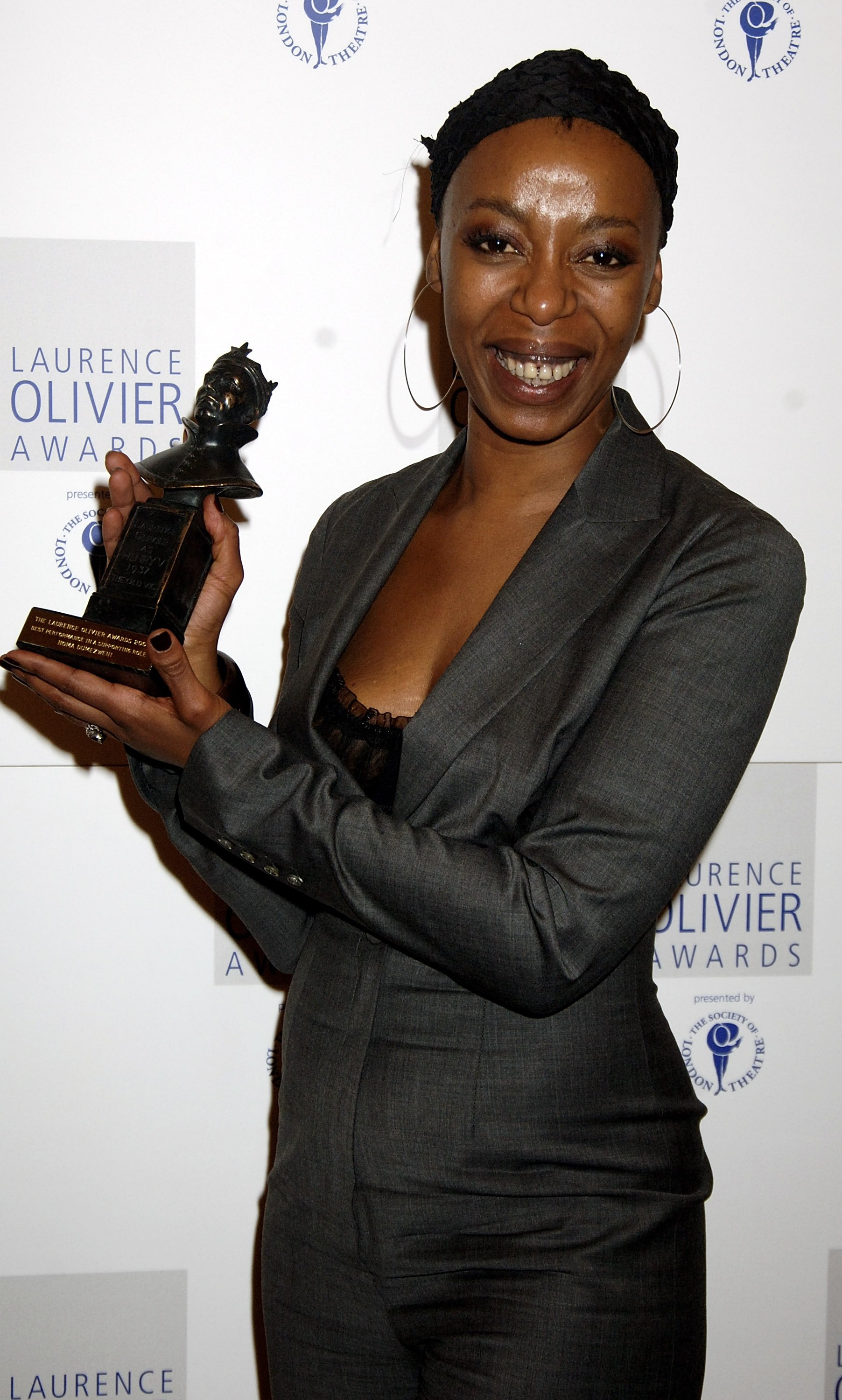 Noma Dumezweni poses with the award for Best Performance in a Supporting Role for at the Laurence Olivier Awards on Feb. 26, 2006 in London, England