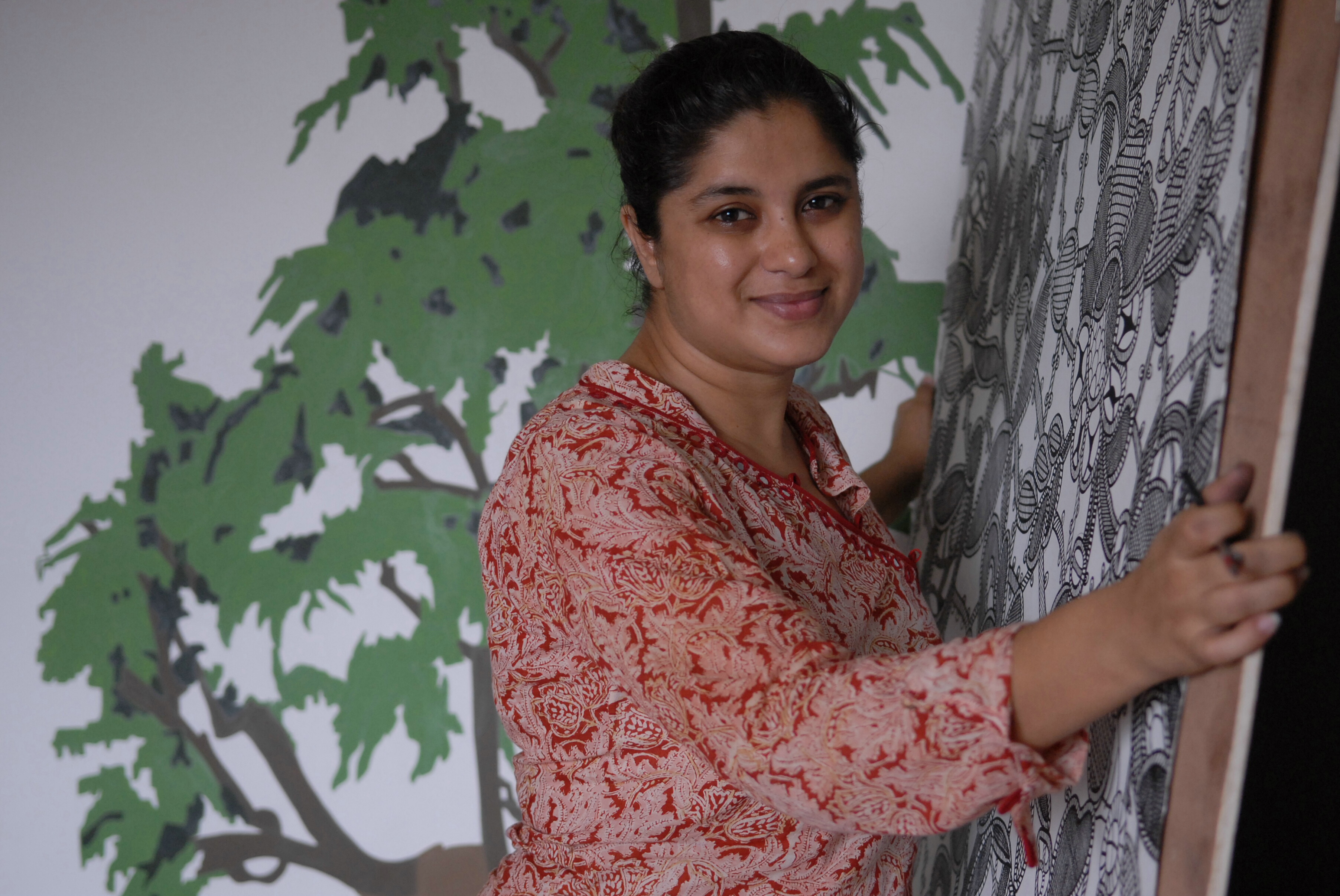 Hema Upadhyay, Artist at her Studio in Mumbai, Maharashtra, India on Aug. 30, 2007.
