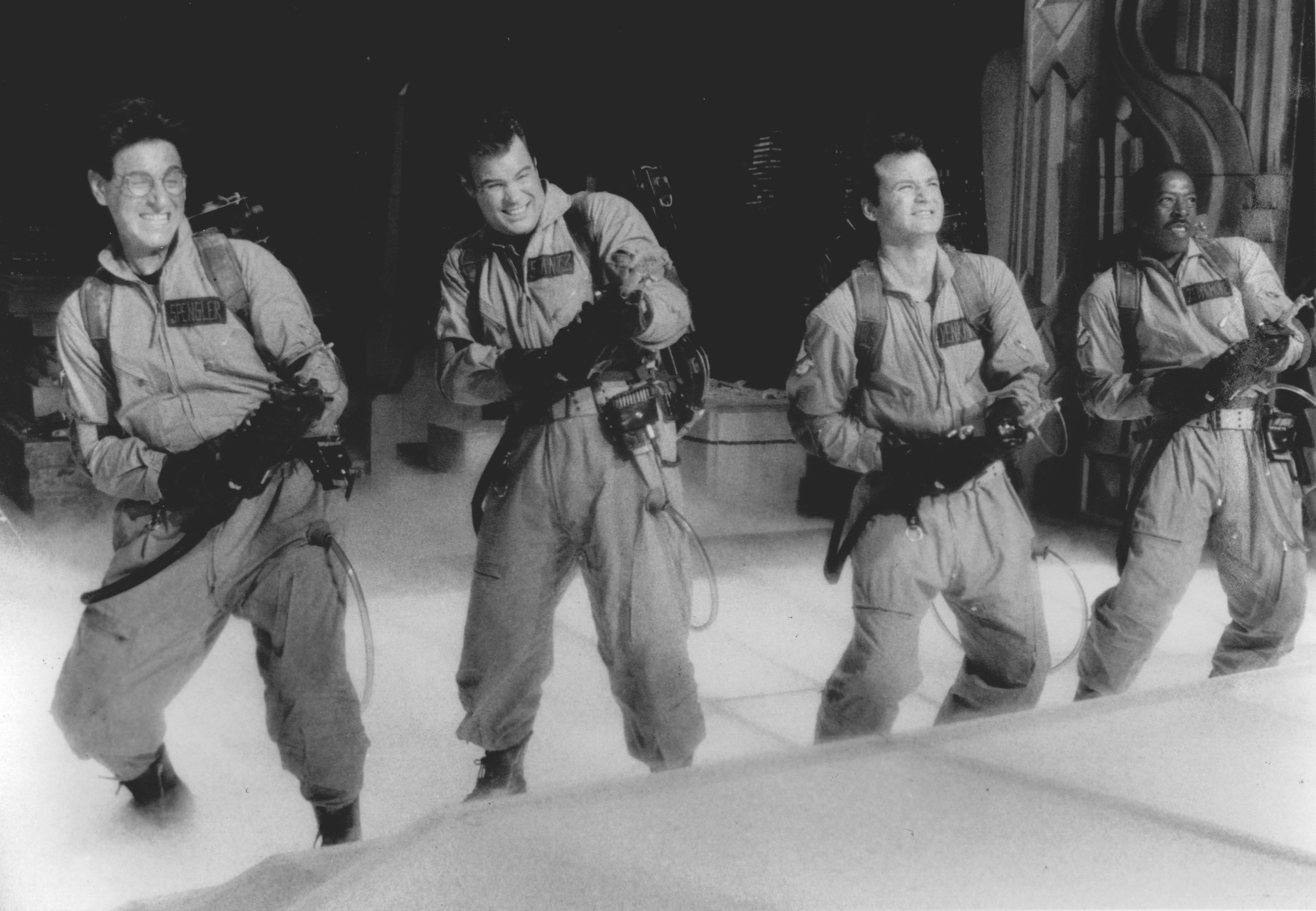 Ghostbusters                      Harold Ramis, Dan Aykroyd, Bill Murray and Ernie Hudson take care not to cross the streams as they fire on evil spirits menacing New York City.