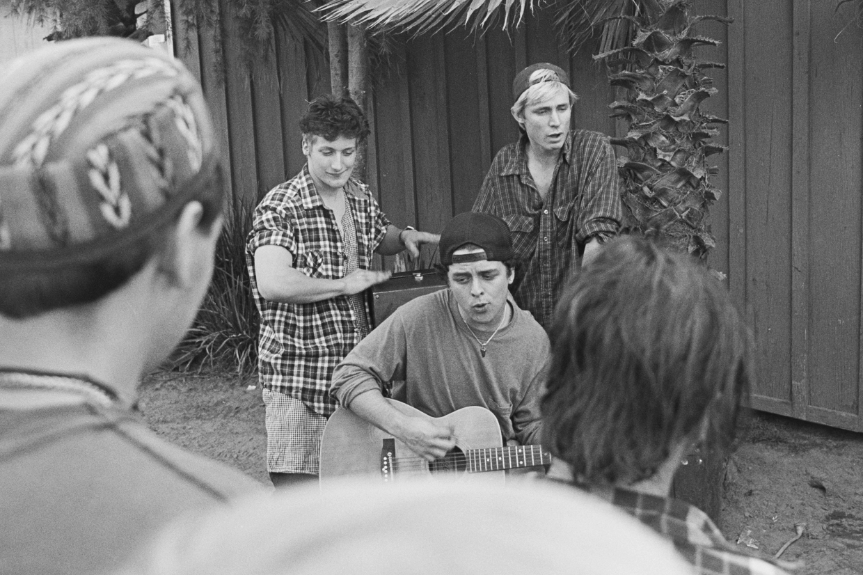 Green Day performs at a backyard party on Jan. 26, 1991.