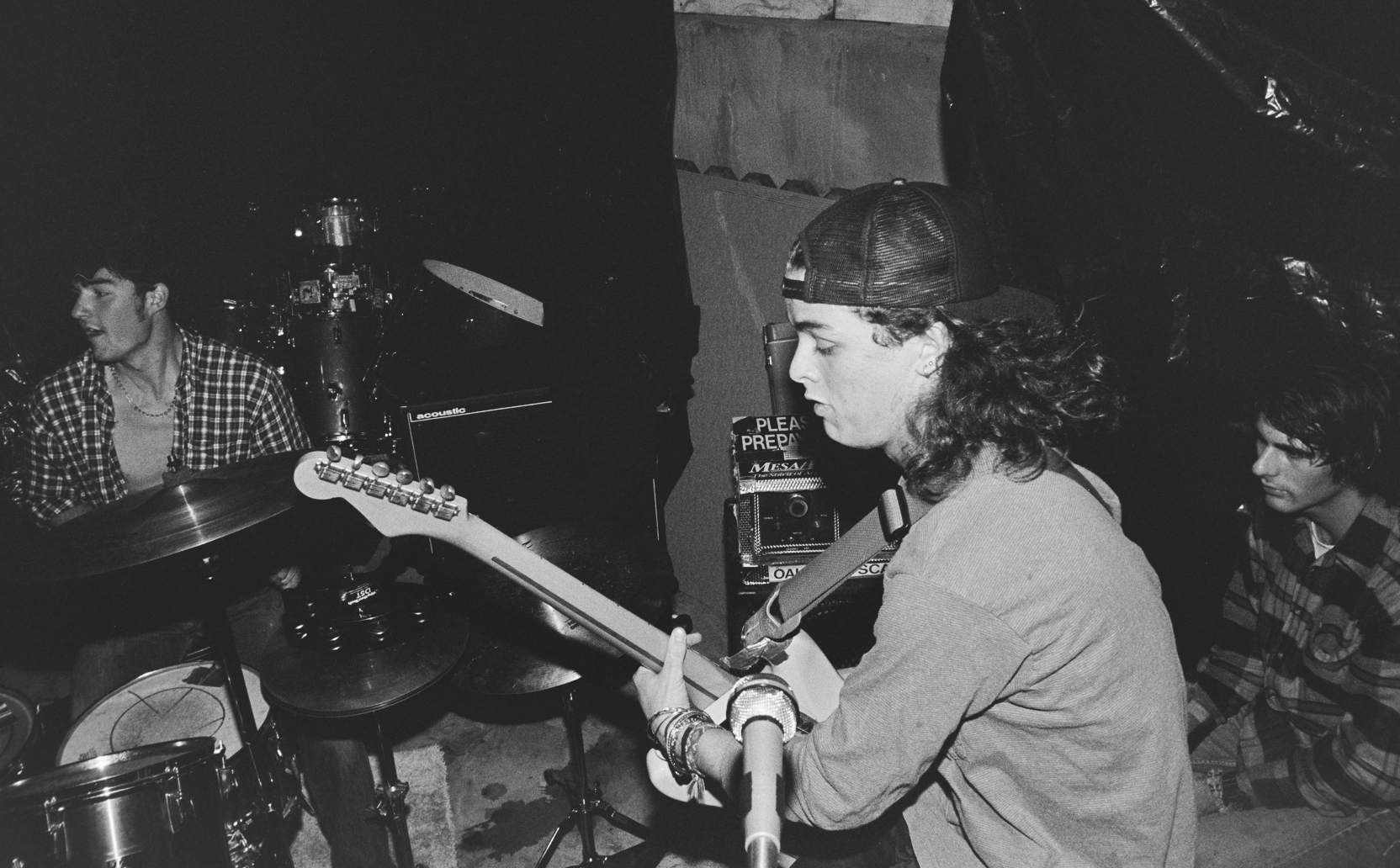 Green Day performs at a friend's backyard party on Nov. 12, 1989 in Pinole, Calif.