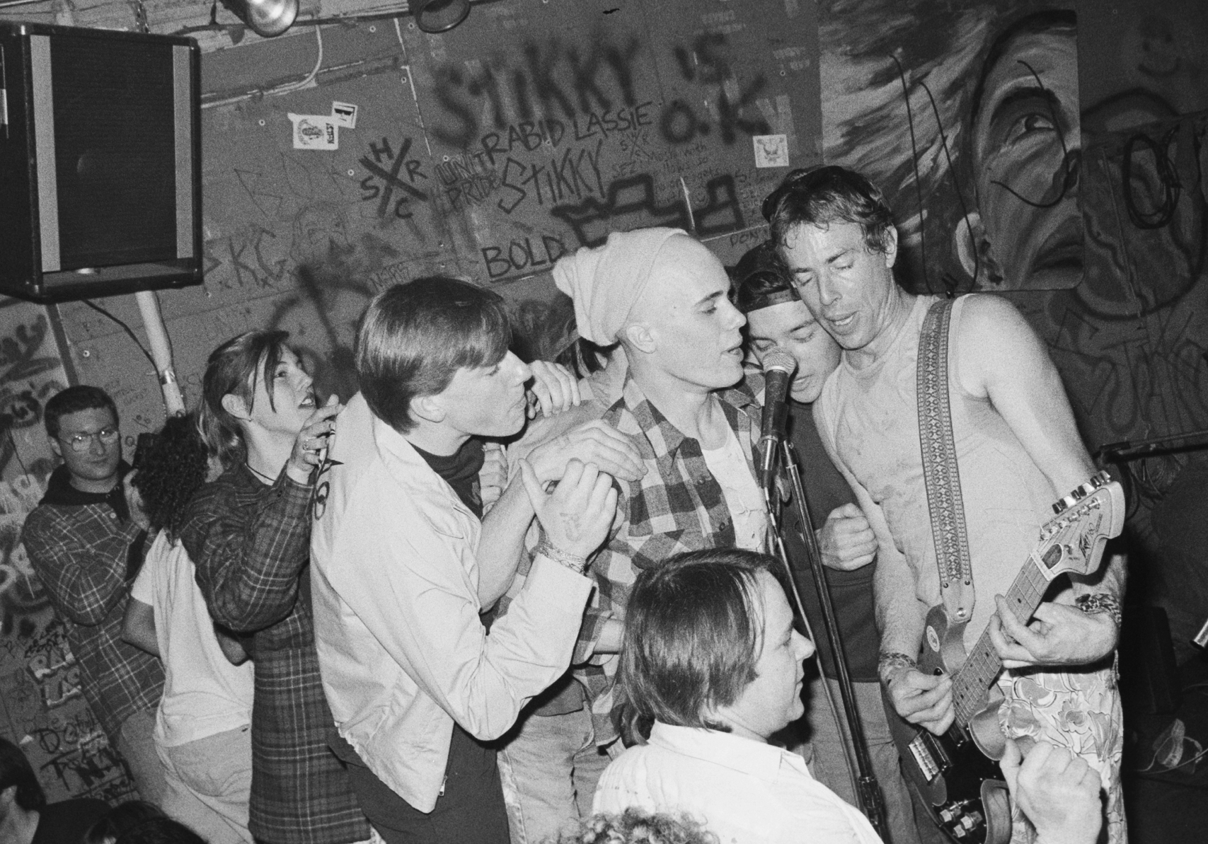 Larry Livermore, right, performs at 924 Gilman Street in this undated photo.