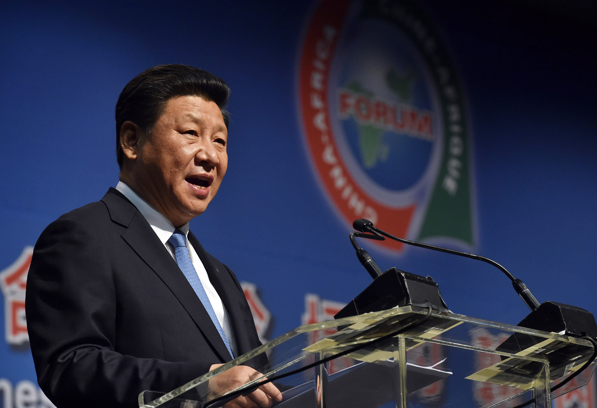 A handout picture provided by the South African Government Communication and Information System (GCIS) shows Chinese President Xi Jinping addressing delegates at the opening of the Forum on China-Africa Co-operation (Focac) Summit in Johannesburg, South Africa, Dec. 2015.