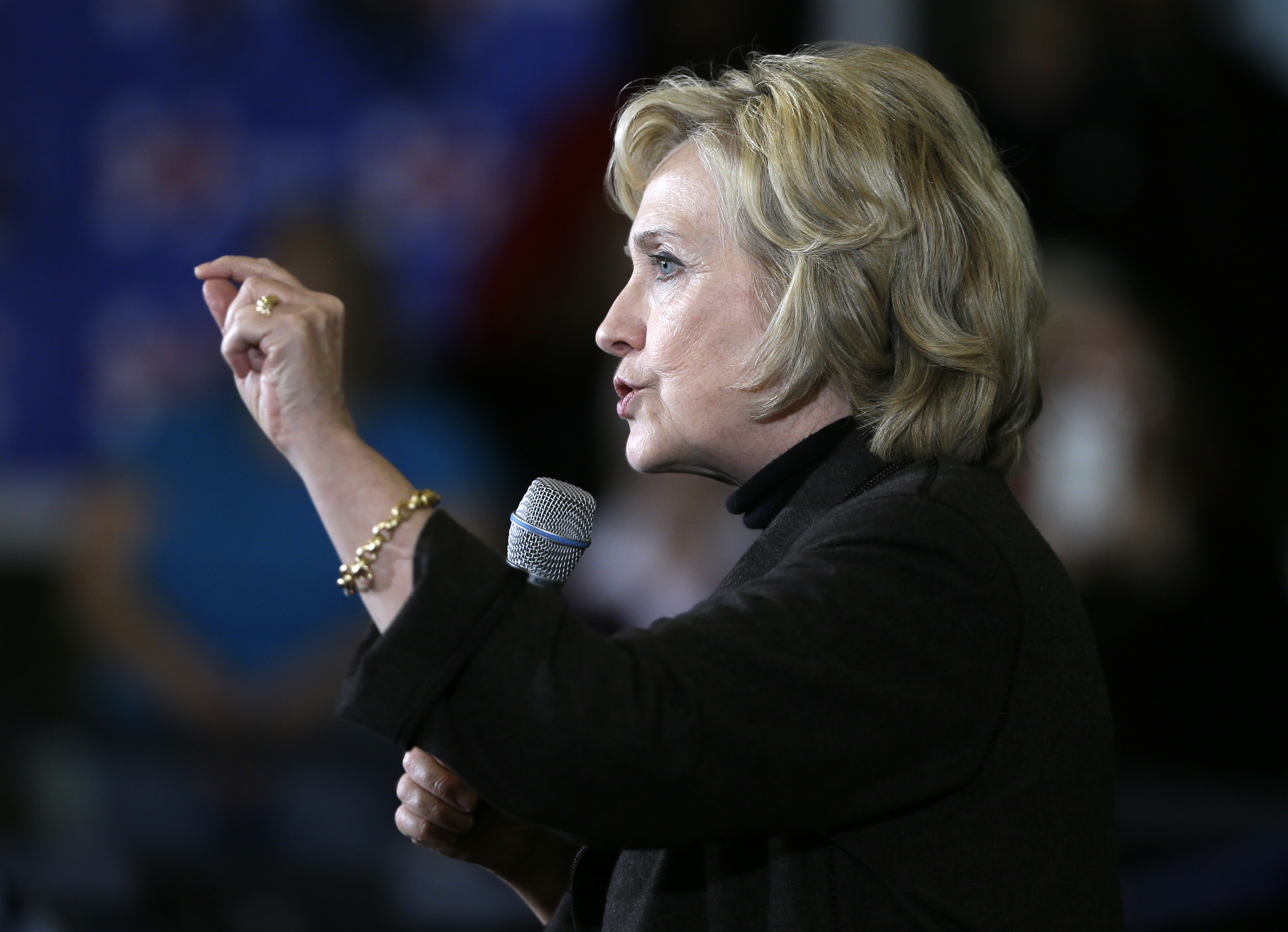 Democratic presidential candidate Hillary Clinton speaks during a town hall meeting, Dec. 4, 2015, in Fort Dodge, Iowa.