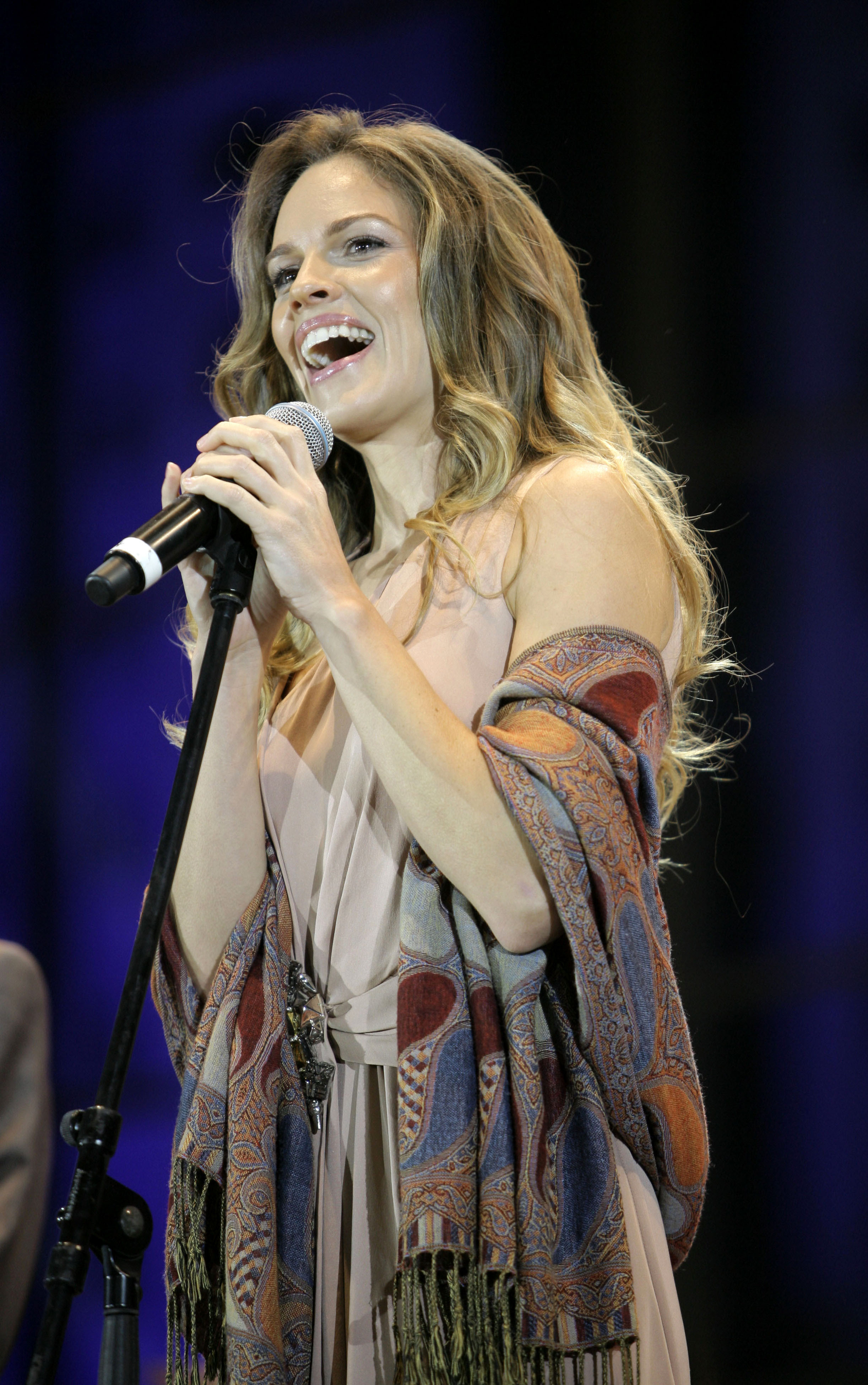 Hilary Swank attends a concert in the new  Grozny City  residential and commercial complex in Grozny, Chechen Republic, Russia on Oct. 5, 2011.