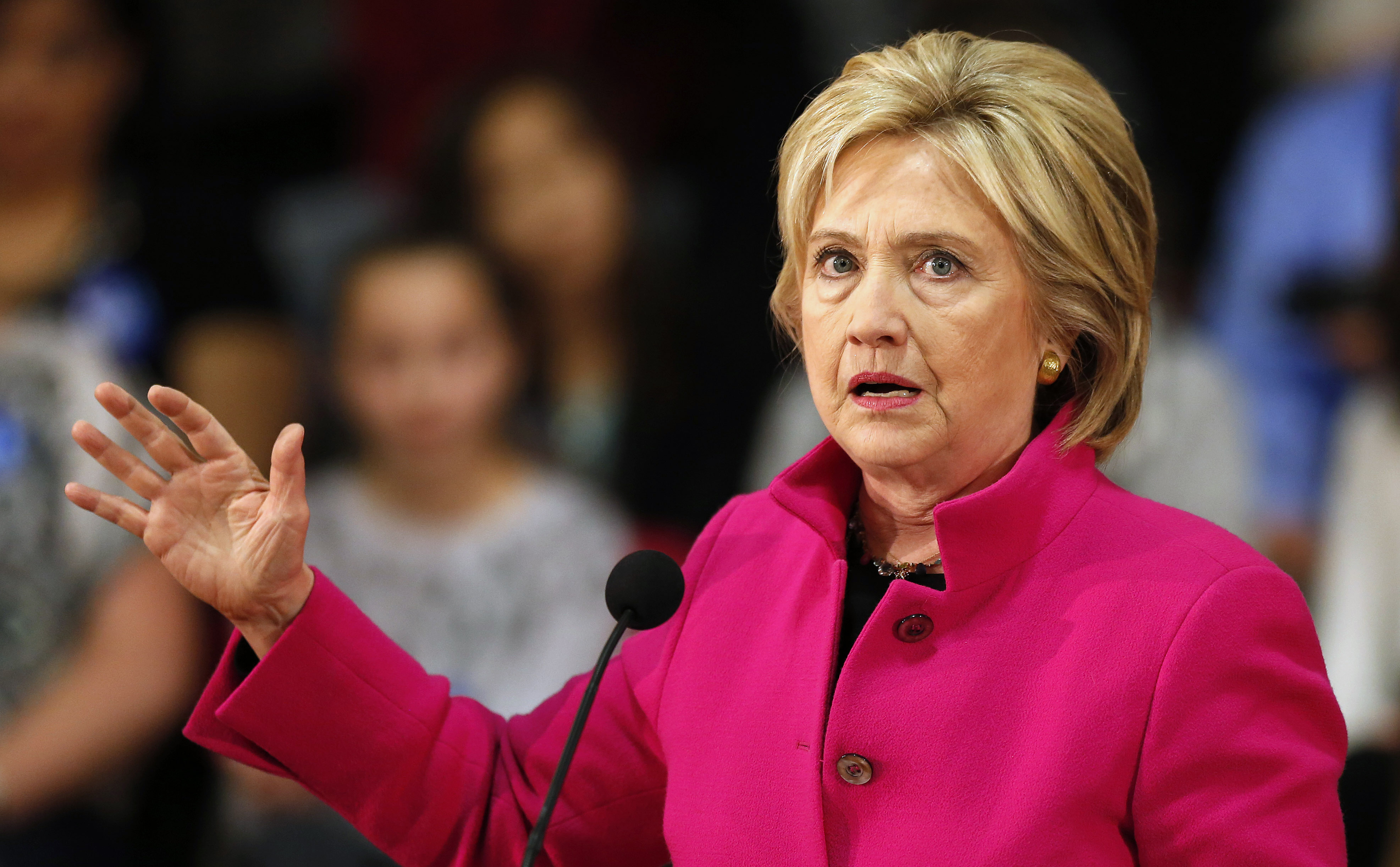 Democratic presidential candidate Hillary Clinton speaks during a campaign stop Tuesday, Dec. 8, 2015, in Salem, N.H.