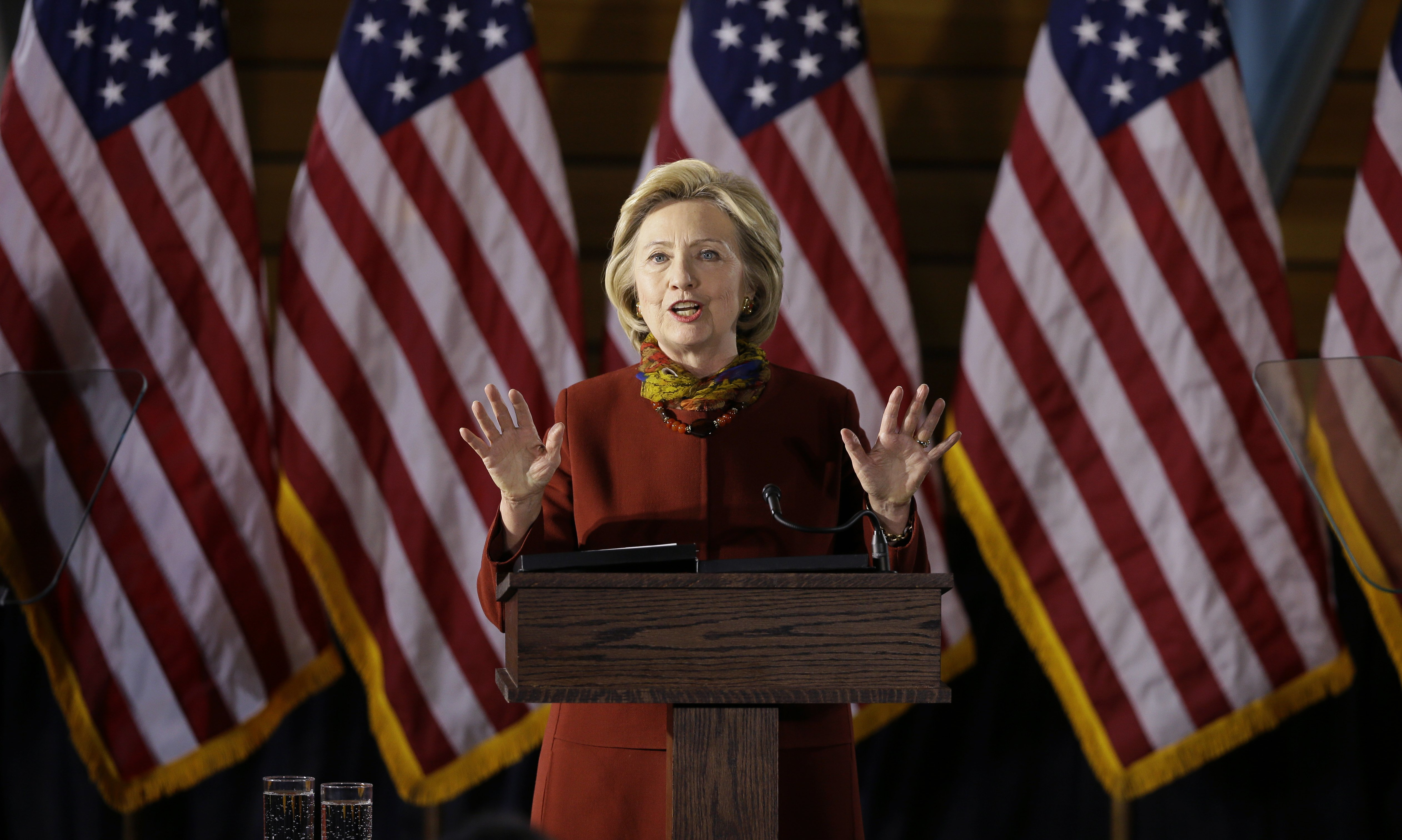 Hillary Clinton speaks about her counterterrorism strategy at the University of Minnesota in Minneapolis on Dec. 15, 2015.