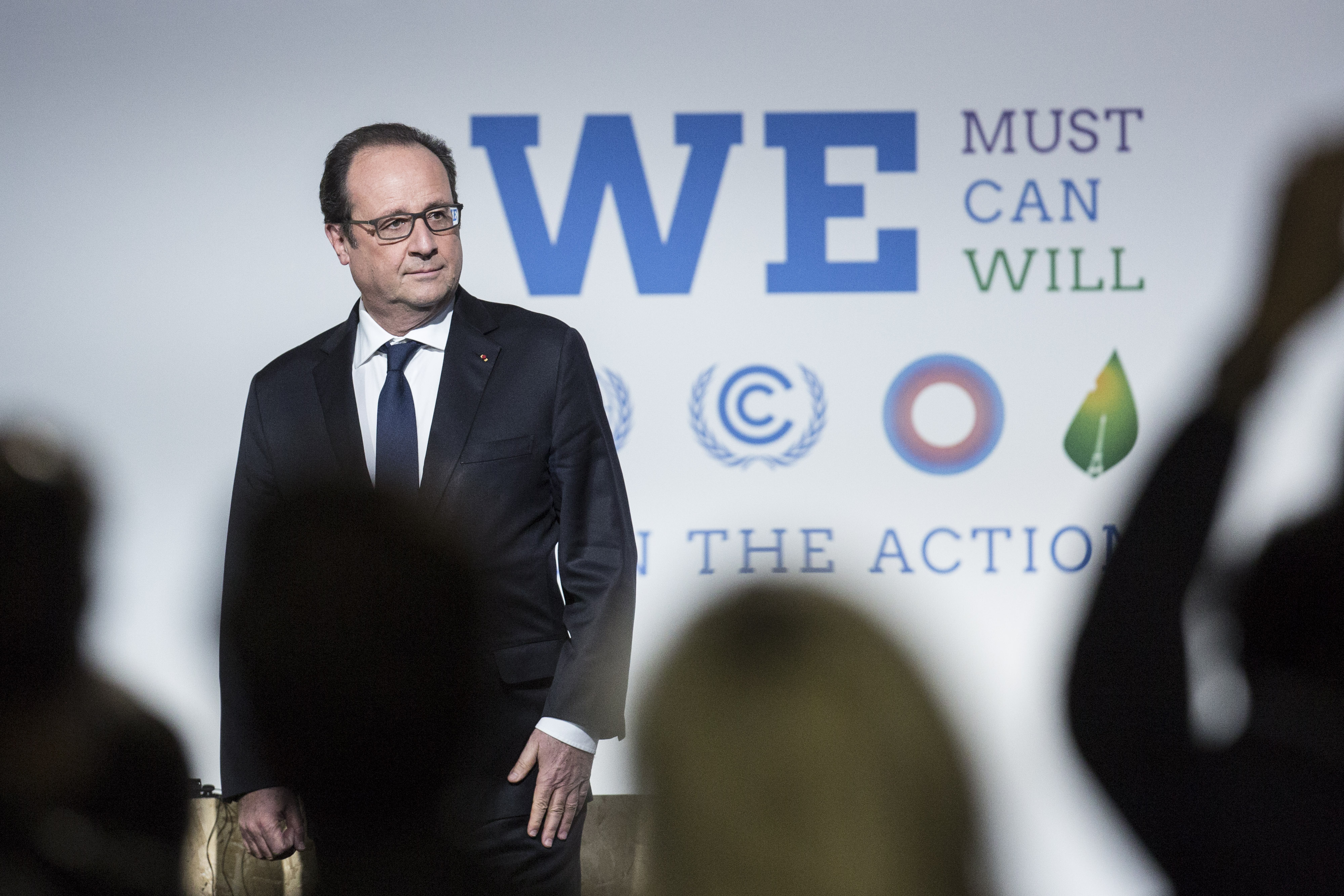 Francois Hollande during the action day at the United Nations COP21 climate summit, at Le Bourget, Paris on Dec. 5, 2015.
