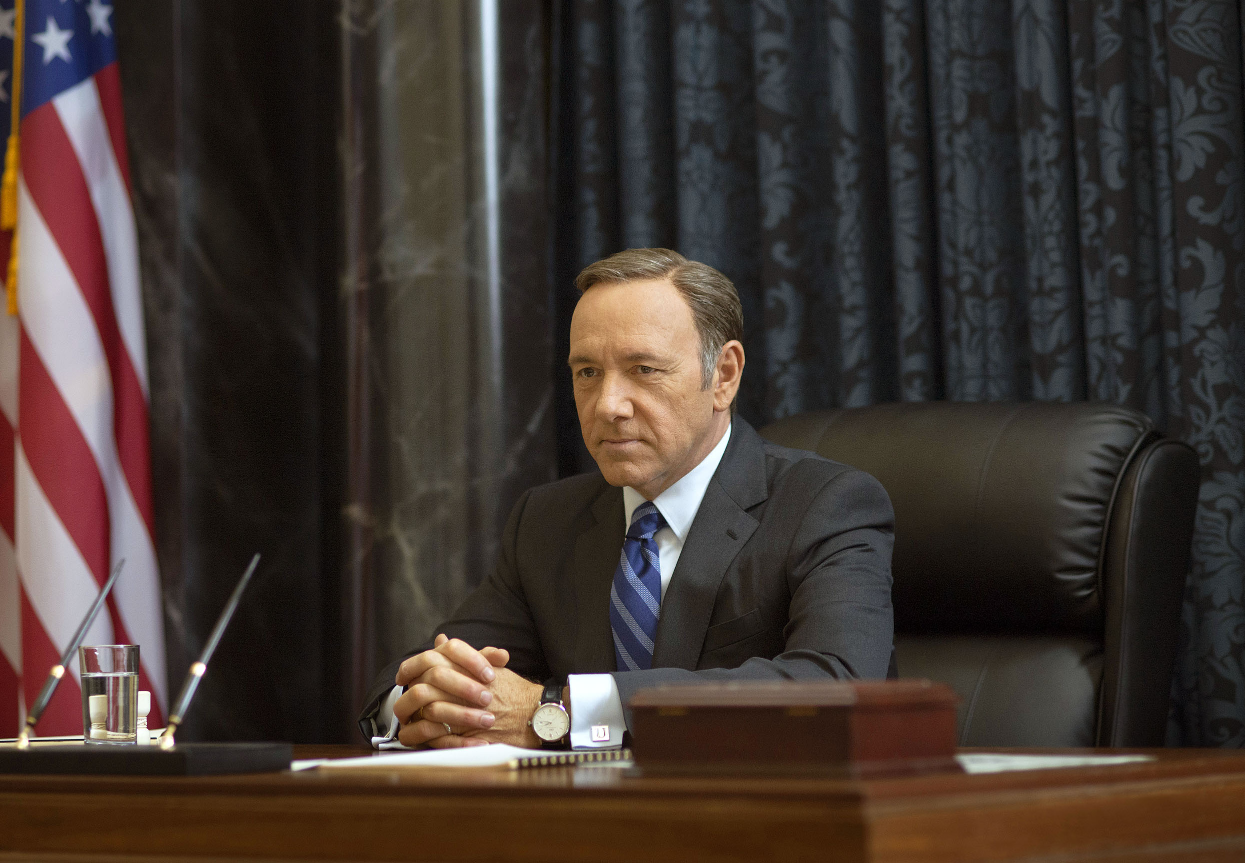 This image released by Netflix shows Kevin Spacey as Francis Underwood in a scene from  House of Cards.