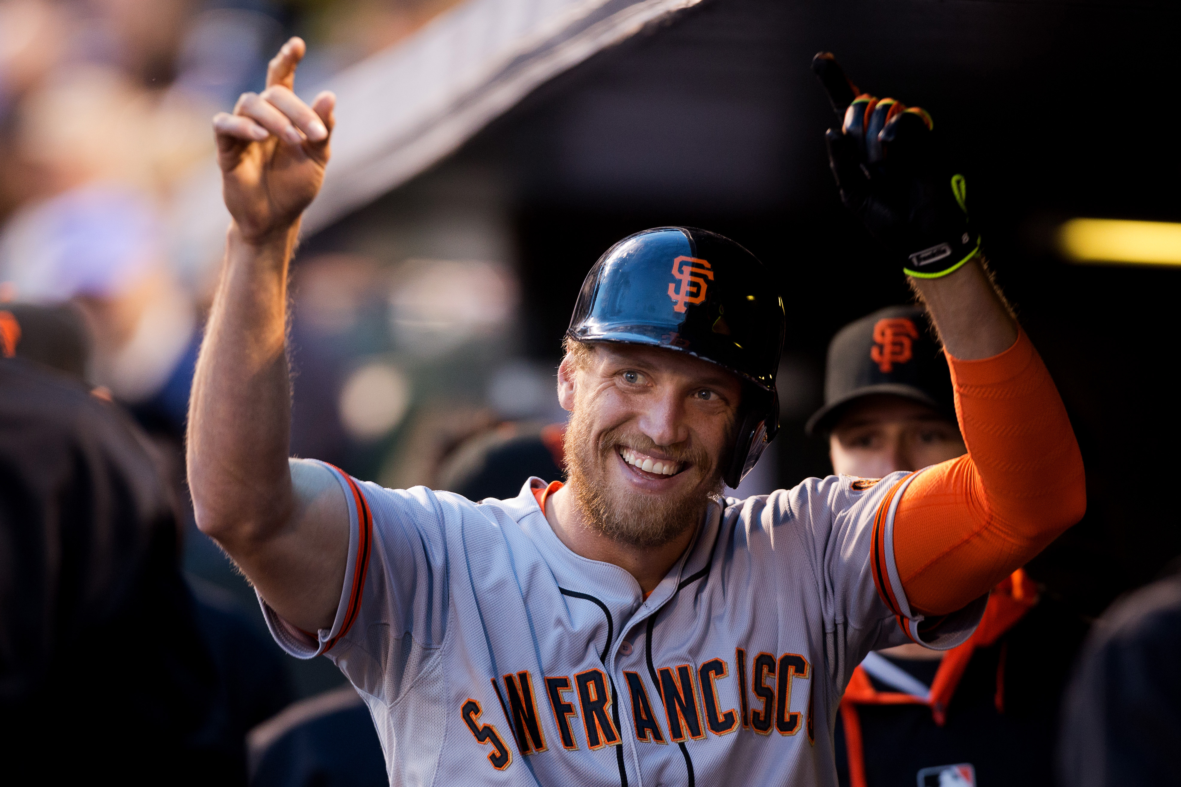 Hunter Pence during the fourth inning against the Colorado Rockies at Coors Field on May 21, 2014 in Denver, CO.