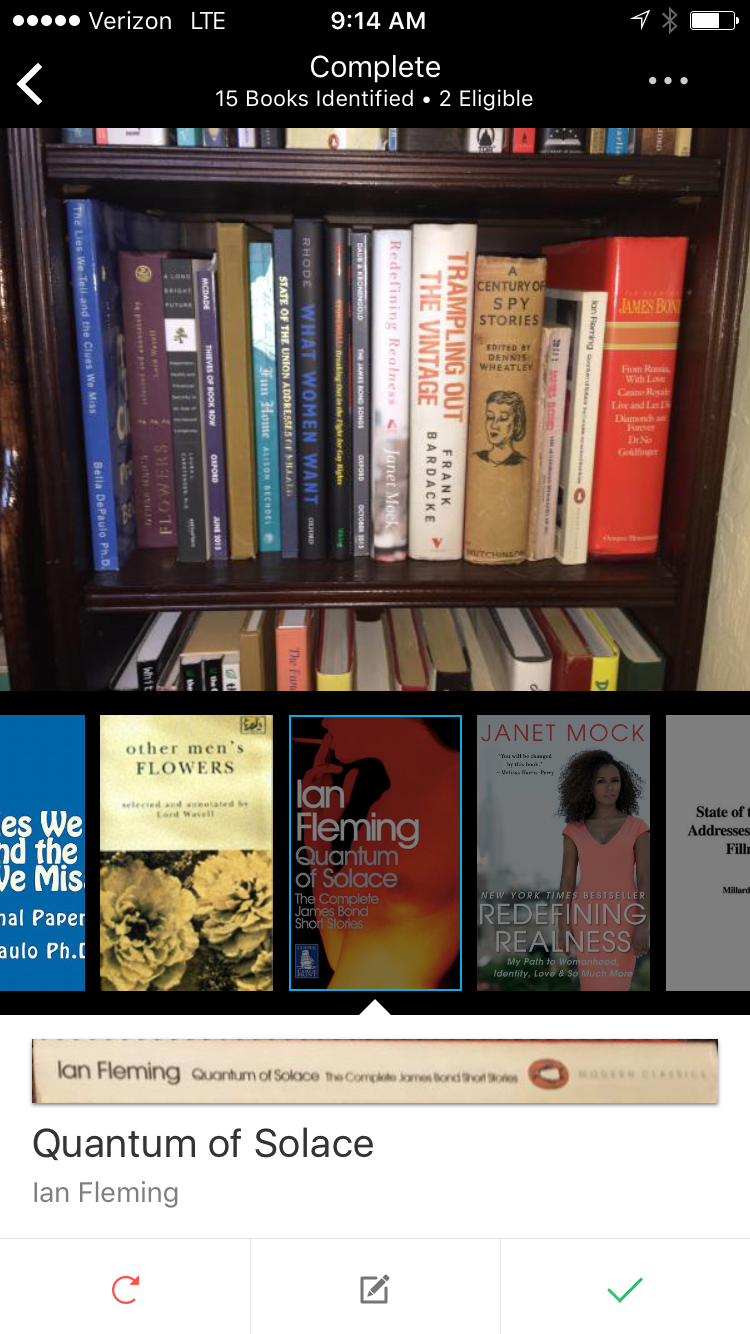 Screen shot of the Selfie app identifying book titles using their in-house computer recognition software.