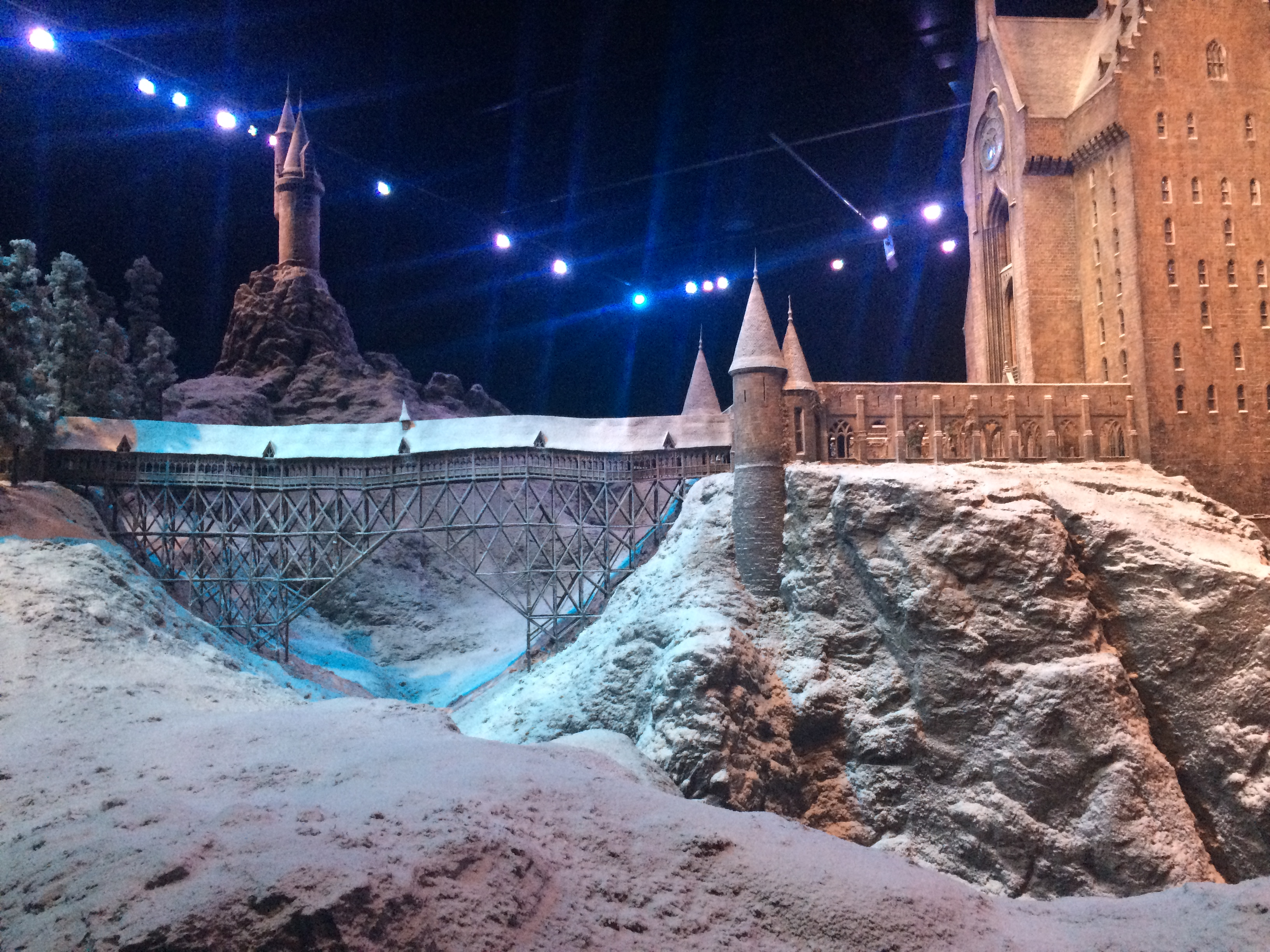A 1:24 scale model of the Hogwarts Castle was covered with snow for the festive season at the Warner Bros Studio Tour in Watford, London.