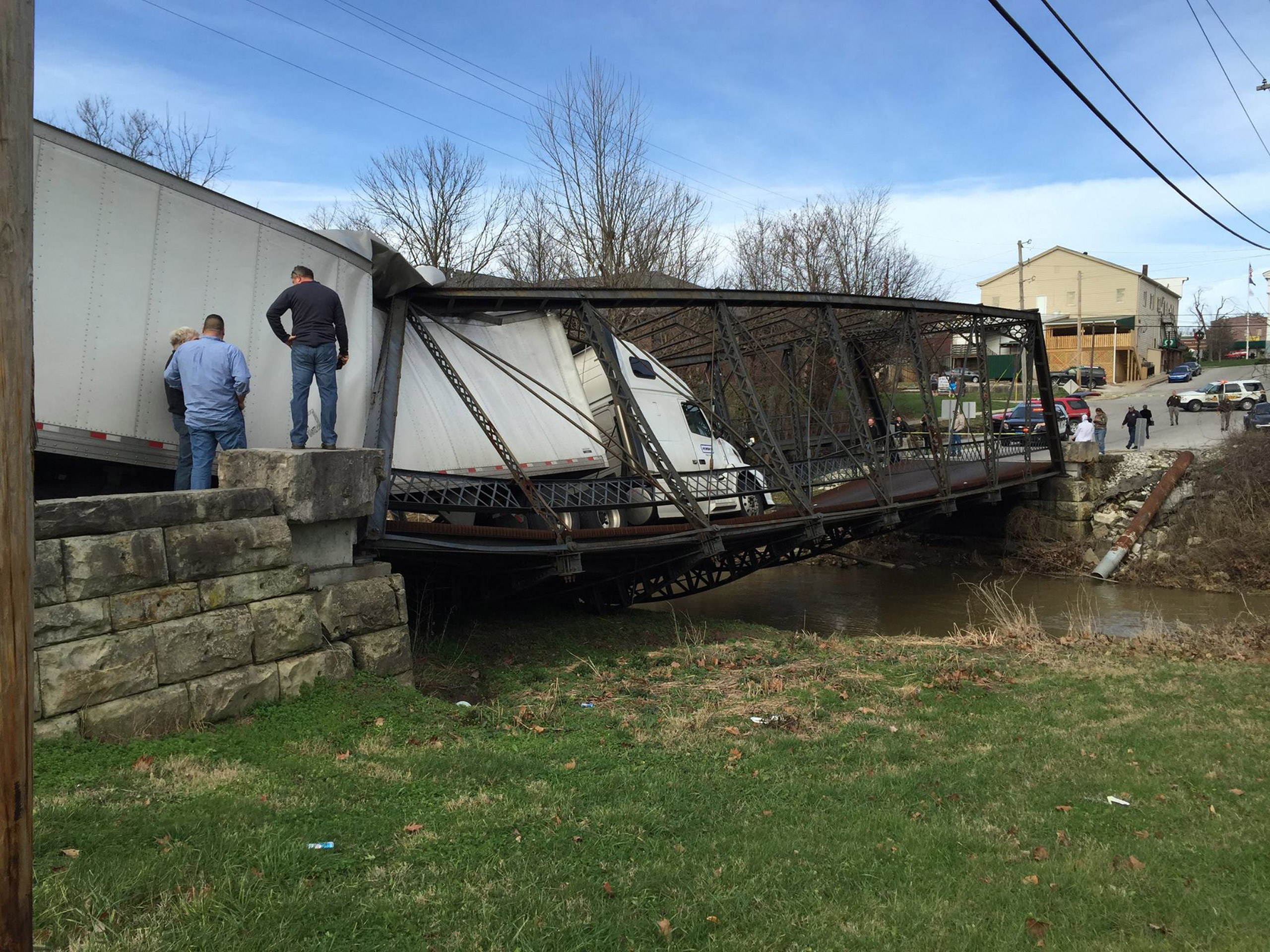 A bridge collapsed under a semitrailer weighing close to 30 tons that tried to cross it in Paoli, Ind., on Christmas.