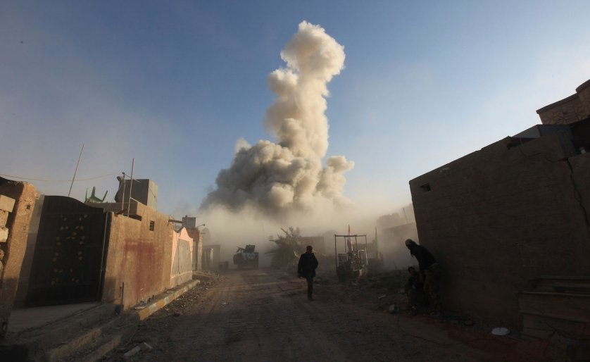 Iraqi forces during an operation to re-seize Ramadi from Islamic state (ISIS) militants in the el-Hoz neighborhood of Ramadi, Iraq on Dec. 26, 2015.