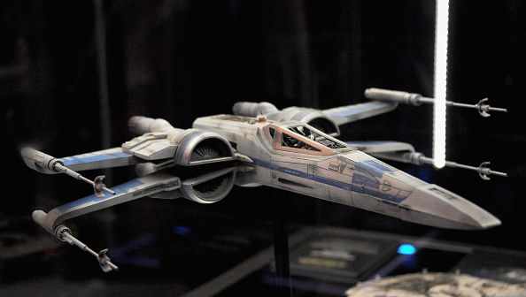 The new improved Rebel XWing Fighter on display inside the 'Star Wars The Force Awakens' exhibit on Day One of Disney's 2015 Star Wars Celebration held at the Anaheim Convention Center on April 16, 2015 in Anaheim, California.