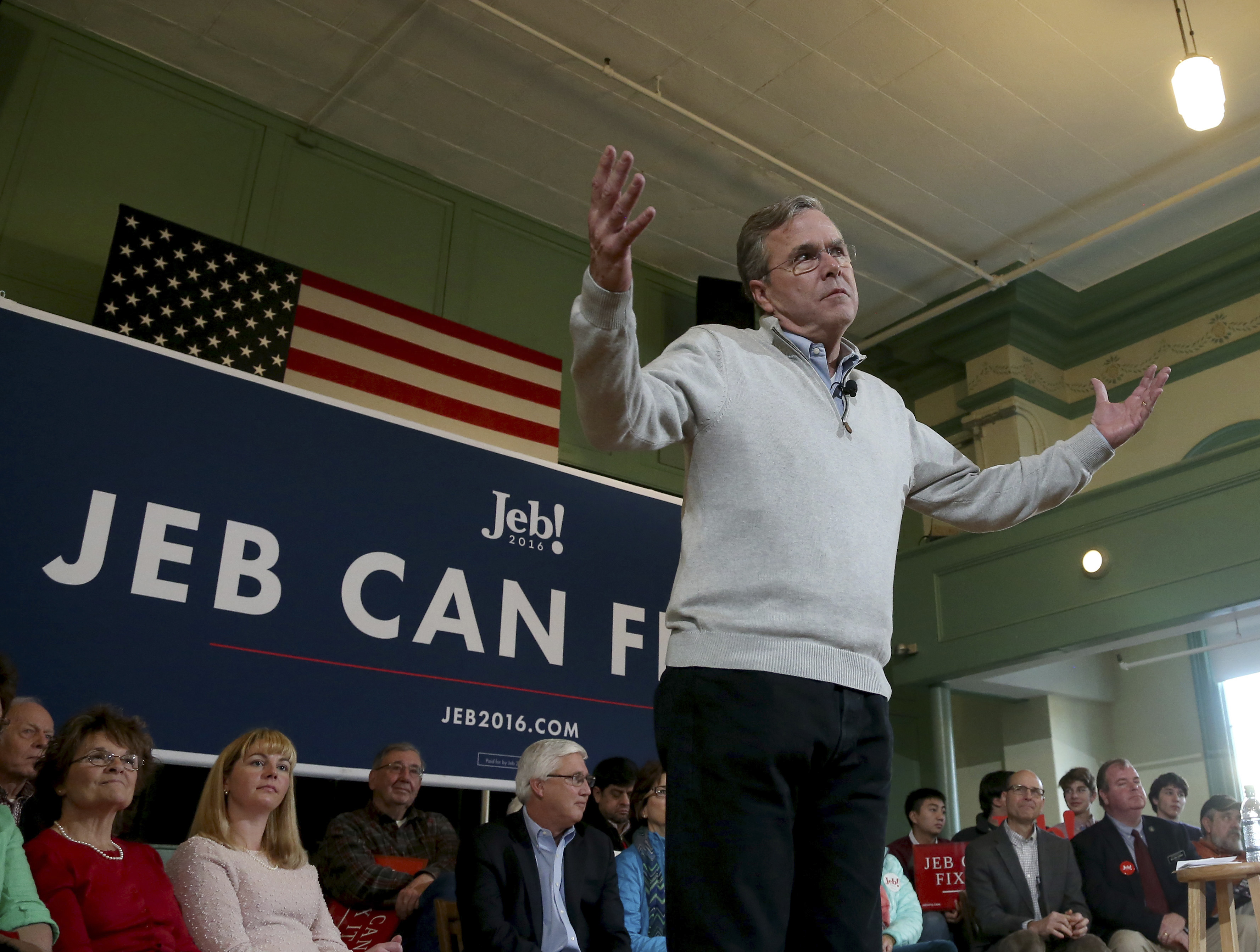 Republican presidential candidate, former Florida Gov. Jeb Bush reacts to a question during a town hall event, Saturday, Dec. 19, 2015, in Exeter, N.H.