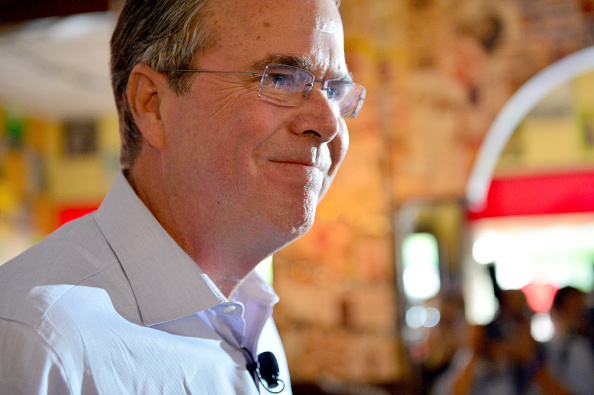 Republican presidential candidate and former Florida Governor Jeb Bush holds a meet and greet at Chico's Restaurant on December 28, 2015 in Hialeah, Florida.