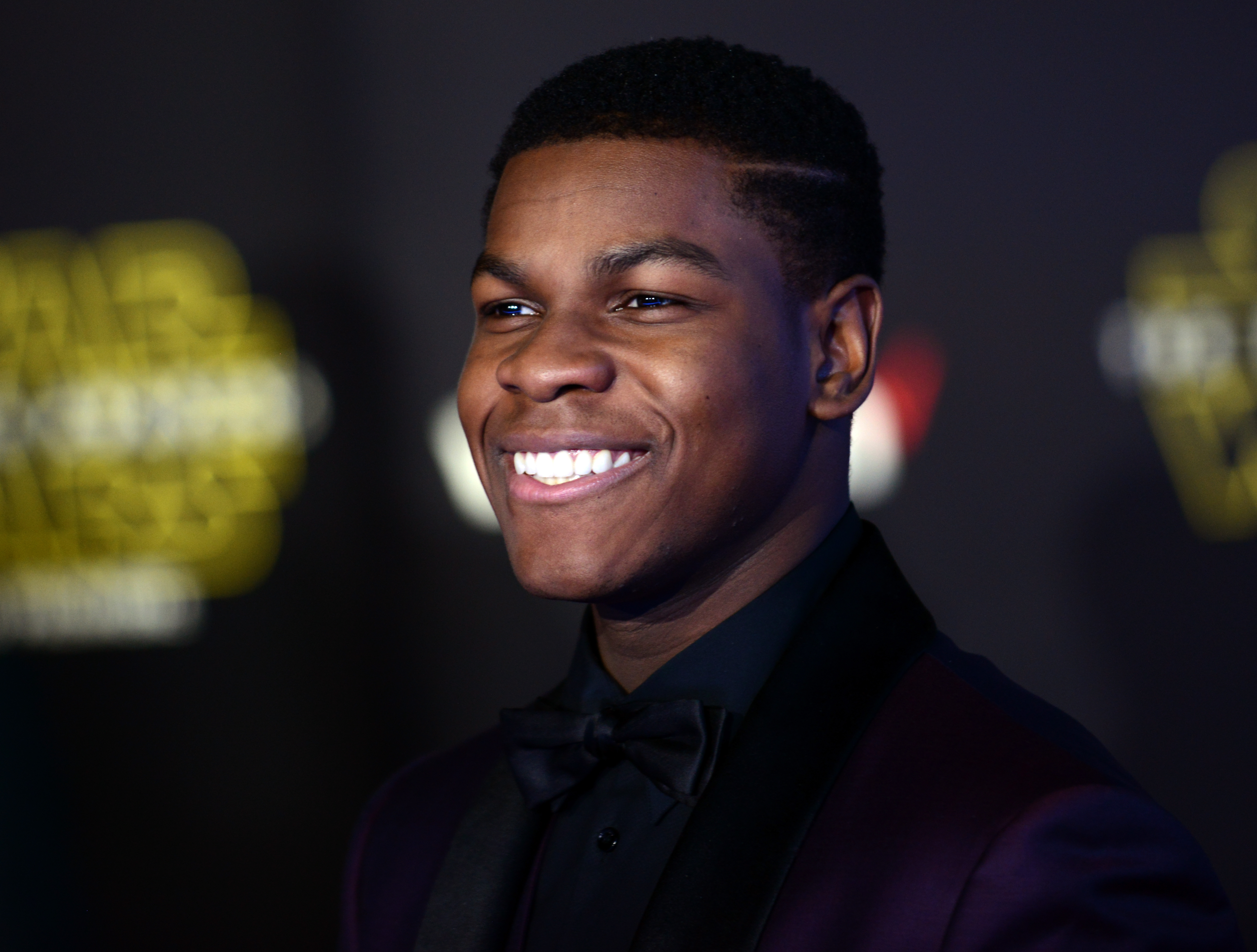 John Boyega arrives for the  Star Wars: The Force Awakens  premiere on Dec. 14, 2015 in Hollywood, CA.
