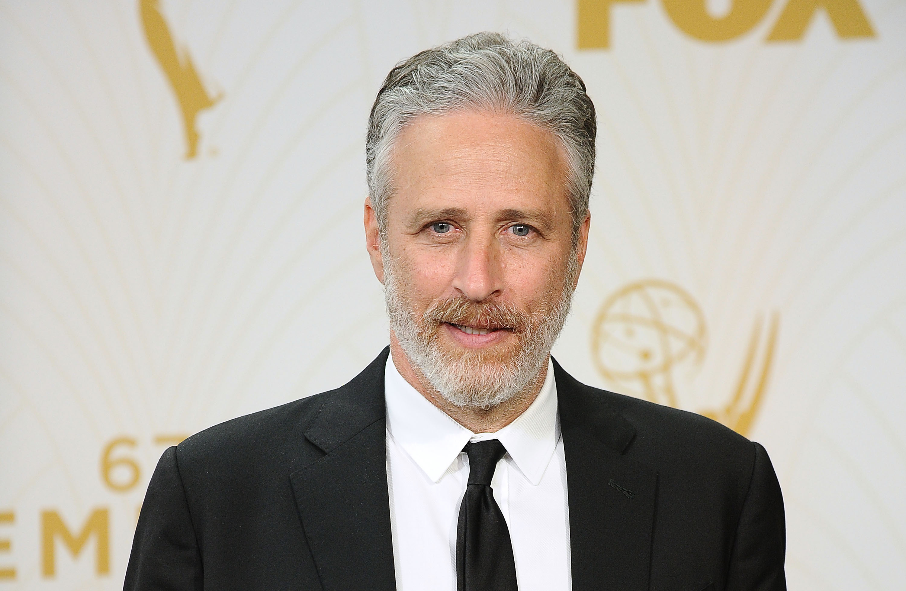 Jon Stewart poses in the press room at the 67th annual Primetime Emmy Awards at Microsoft Theater on September 20, 2015 in Los Angeles, California.