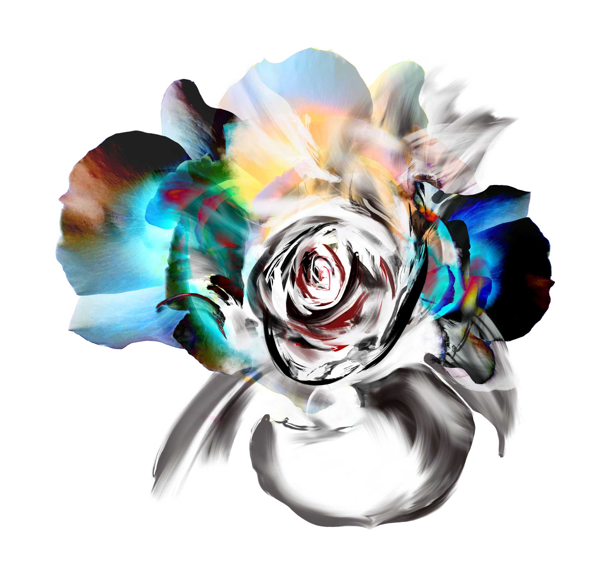 Kahori Maki sees energy in nature. To translate that concept into VISIONEO16, she starts by taking a photo of a rose with an iPhone 6s. Then she imports the image into the Procreate app on iPad Pro, where she gives the flower new life by adding vivid colors and dynamic, free-flowing brushstrokes with the Apple Pencil.