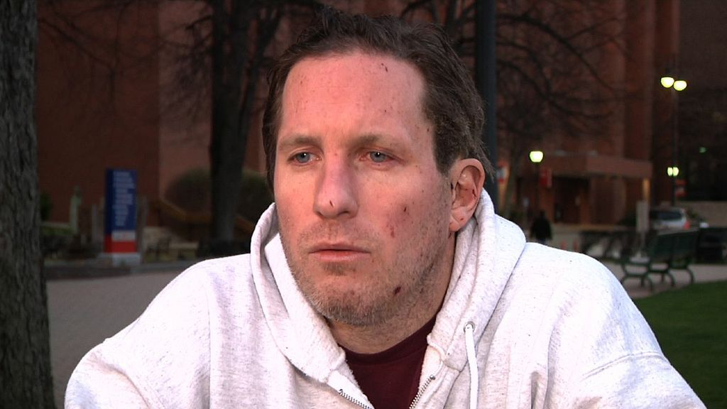 This image pulled from a video shows Boston Marathon bombing victim Kevin White during an interview with the Associated Press on April 17, 2013.