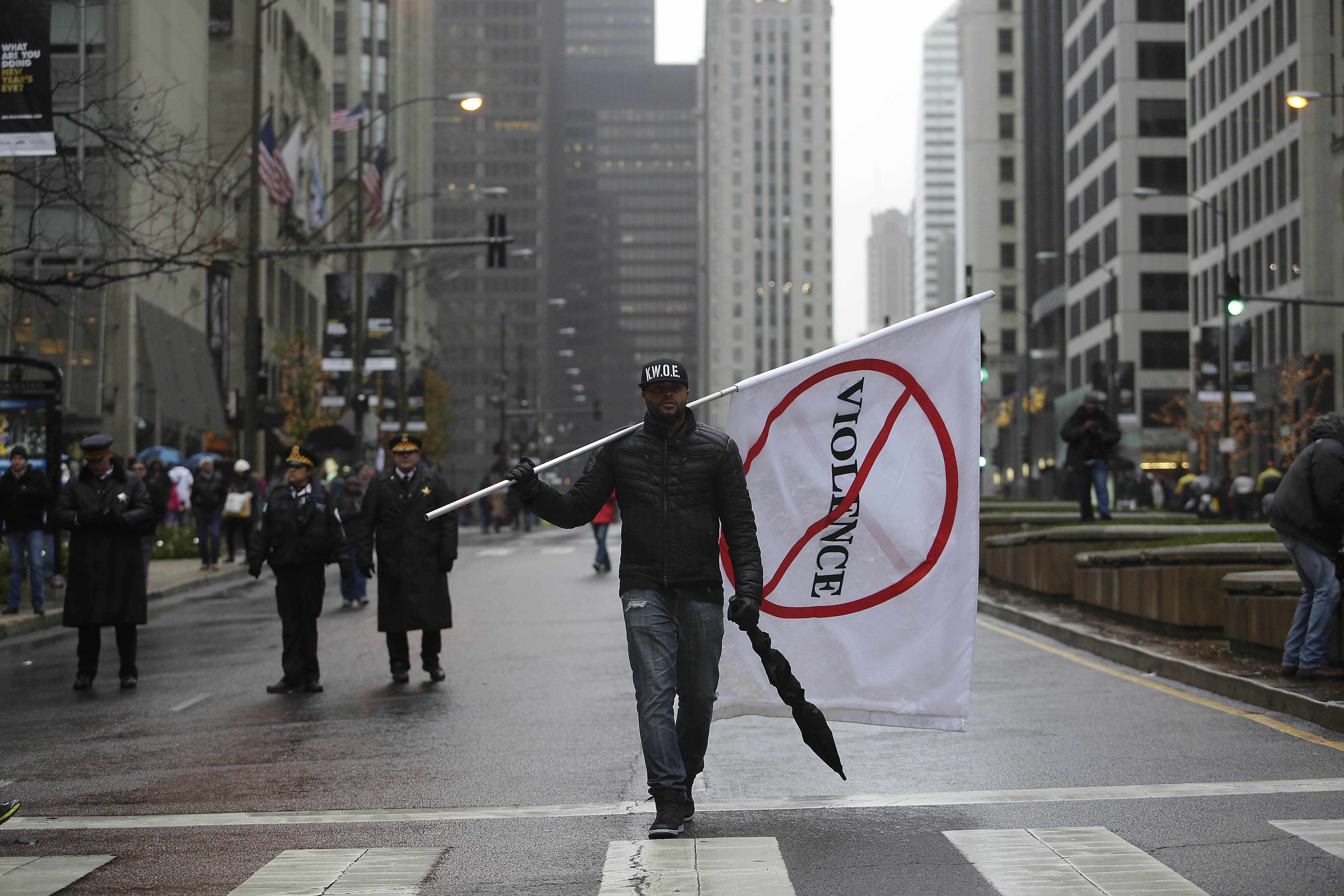 A demonstrator protesting the shooting of Laquan McDonald on Nov. 27, 2015 in Chicago.