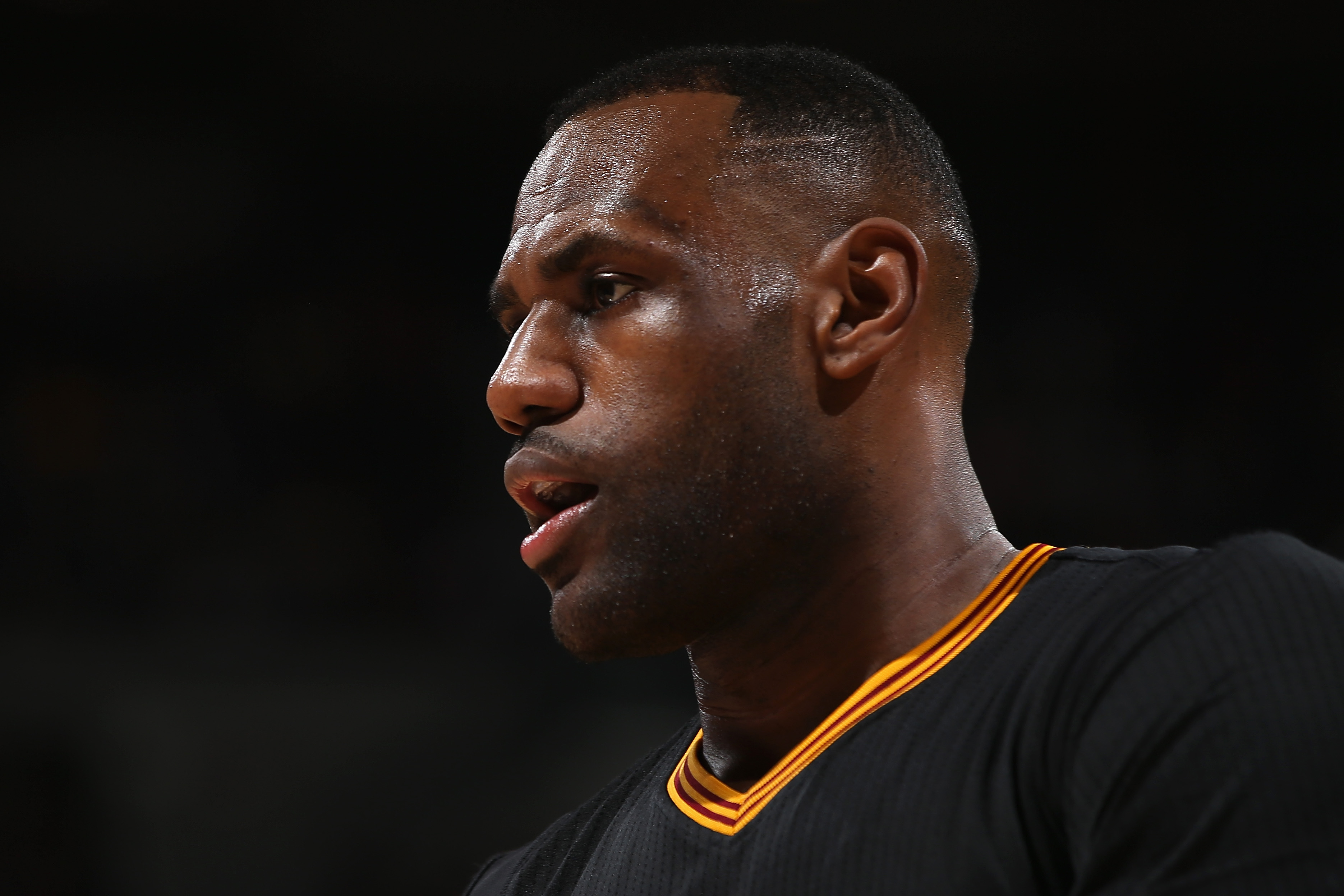 LeBron James of the Cleveland Cavaliers takes the court against the Denver Nuggets on Dec. 29, 2015 in Denver, Colorado.