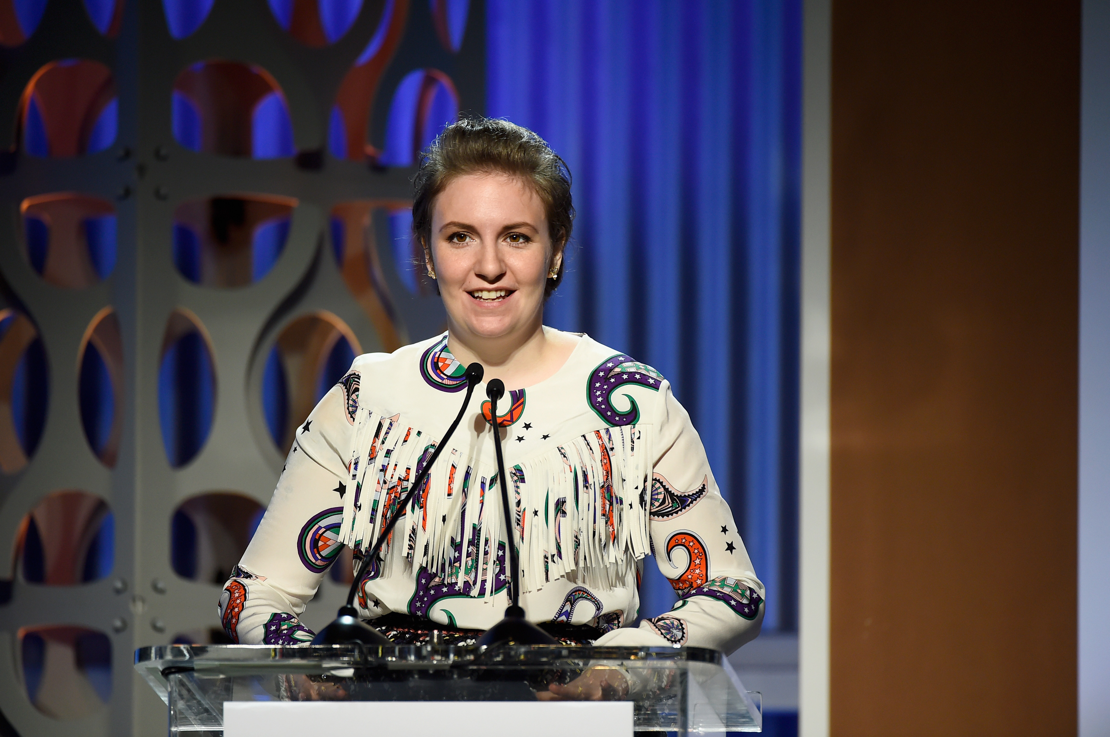 Honoree Lena Dunham delivers remarks during the annual Women in Entertainment breakfast that The Hollywood Reporter hosts in Los Angeles.