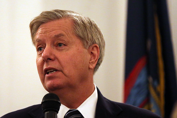 Republican Presidential Candidate Lindsey Graham speaks about the threat America faces from radical islamic movements at the Metropolitan Republican Club on November 19, 2015 in New York City.