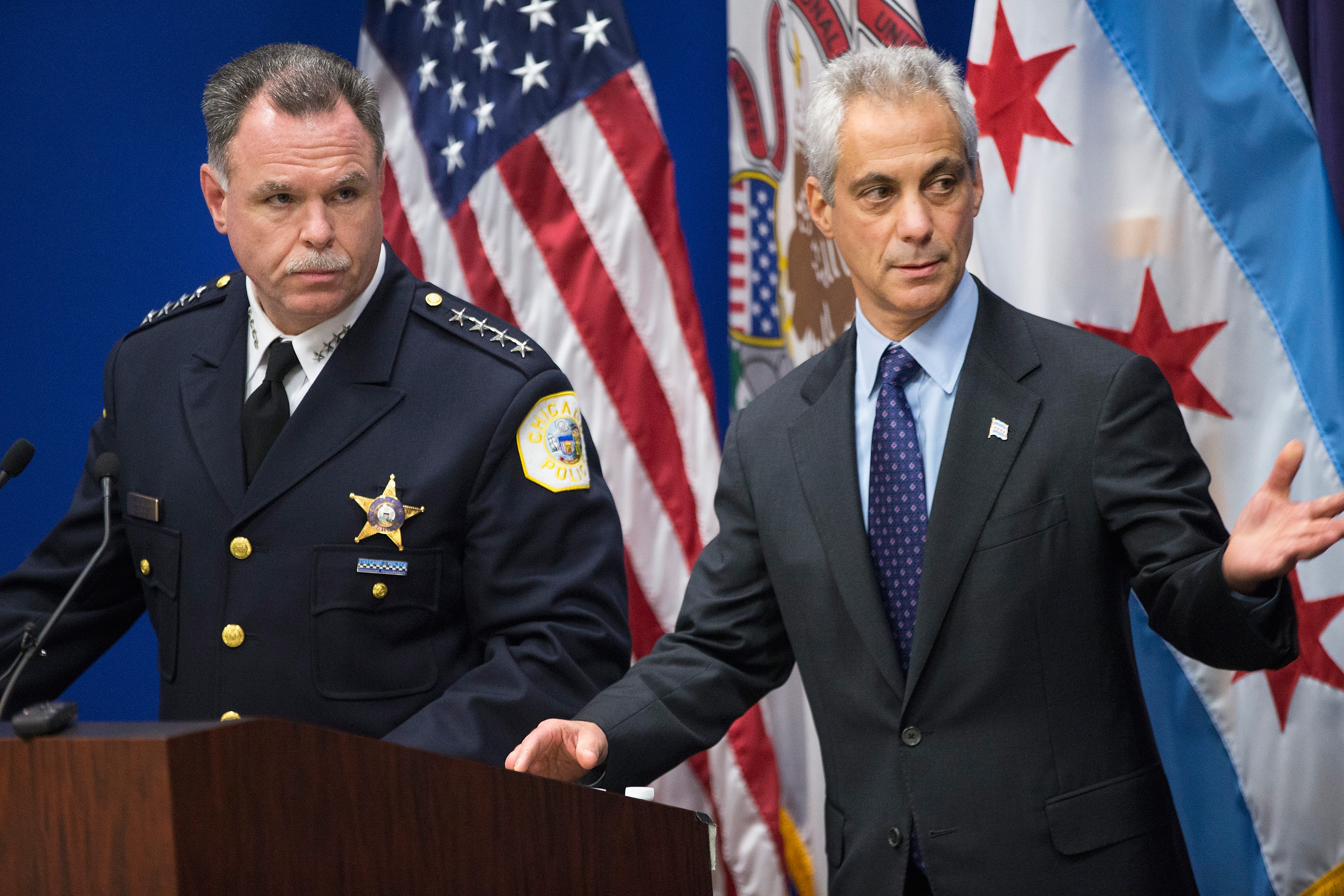 Chicago Police Superintendent Garry McCarthy (L) and Mayor Rahm Emanuel arrive for a  press conference to address the arrest of Chicago Police officer Jason Van Dyke in Chicago on Nov. 24, 2015.