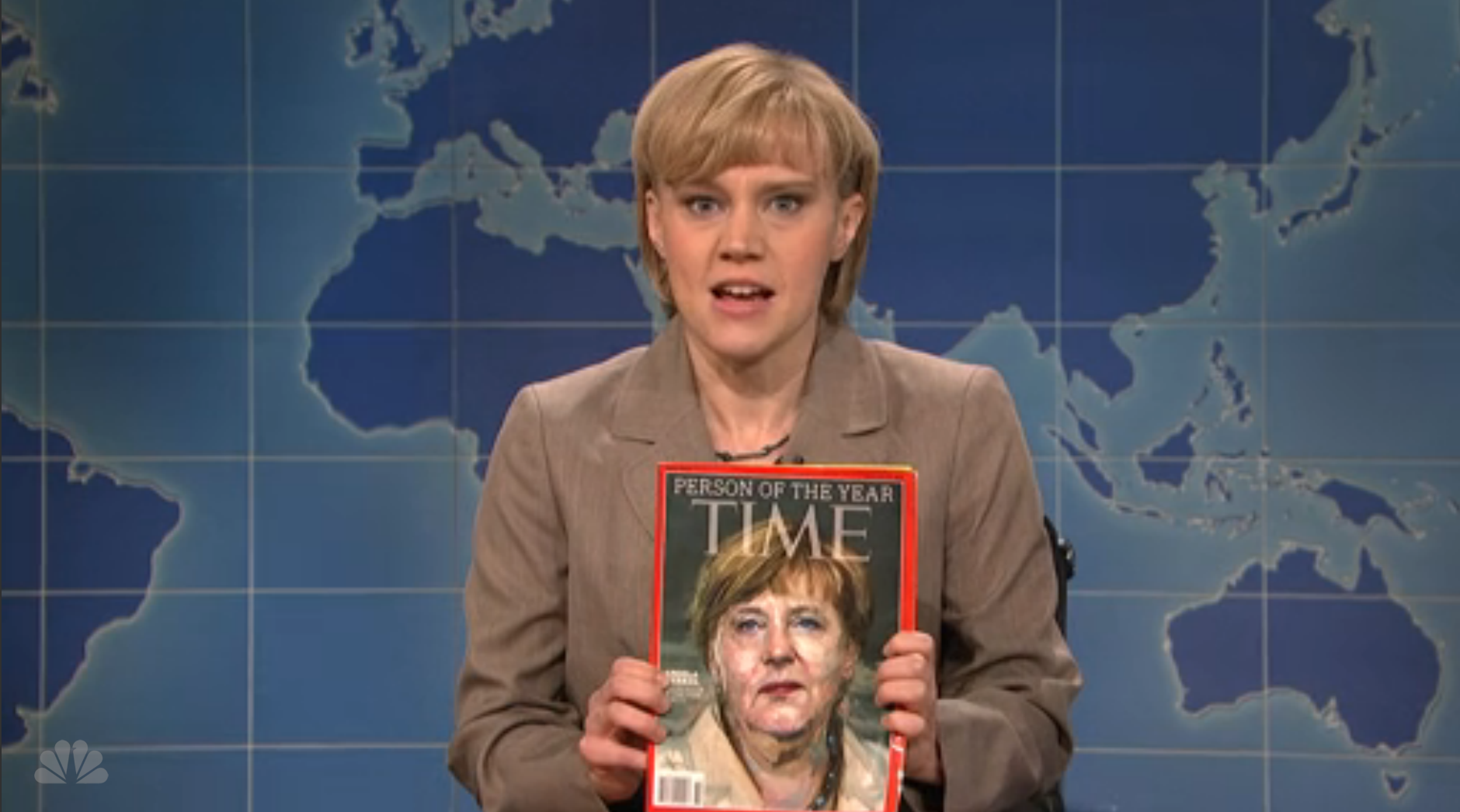 Saturday Night Live spoofed this week's naming of Angela Merkel as TIME's 2015 Person of the Year.