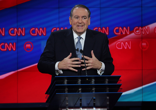 Republican presidential candidate Mike Huckabee speaks during the CNN Republican presidential debate on December 15, 2015 in Las Vegas, Nevada.