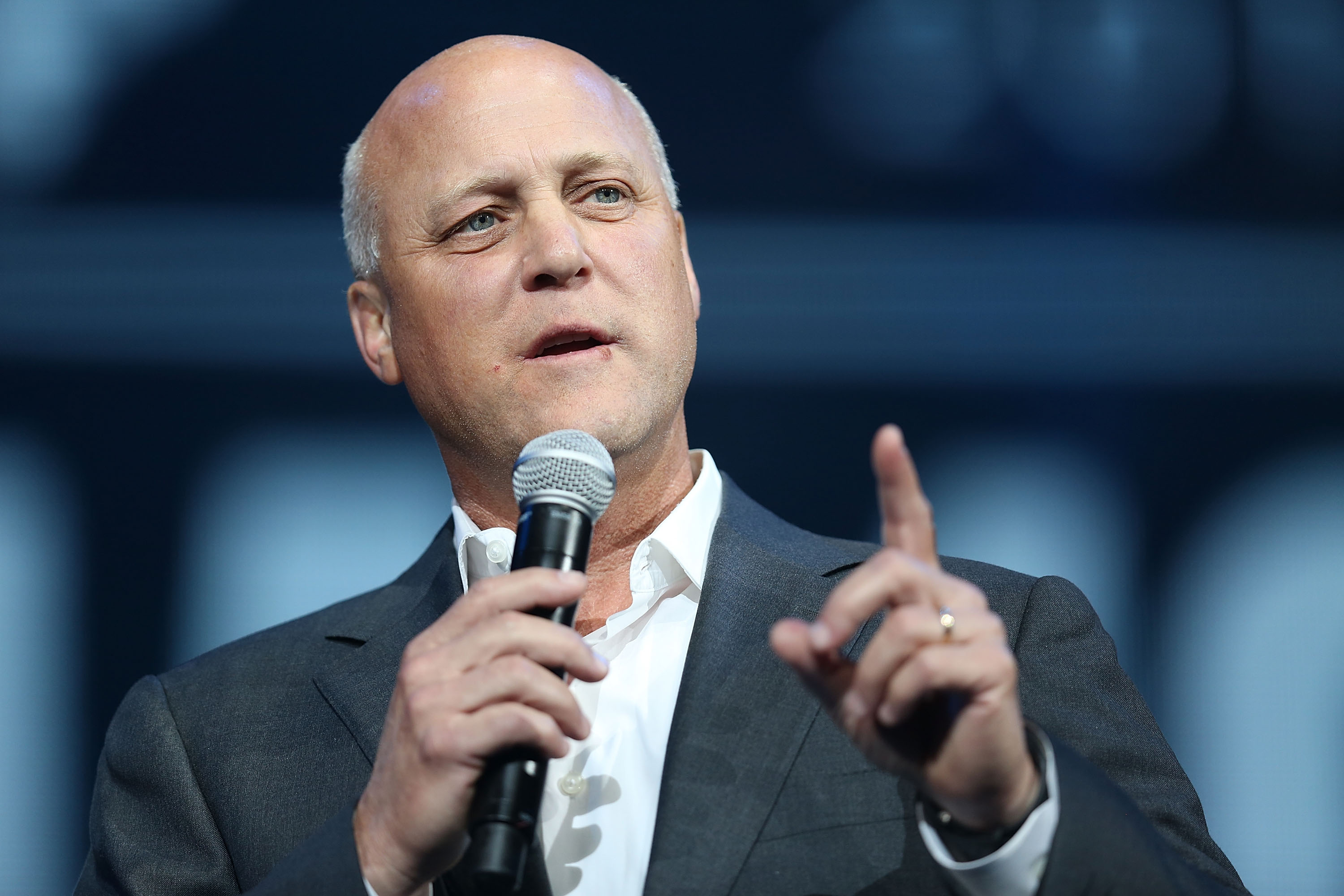 New Orleans Mayor Mitch Landrieu speaks during a Hurricane Katrina 10th anniversary event.