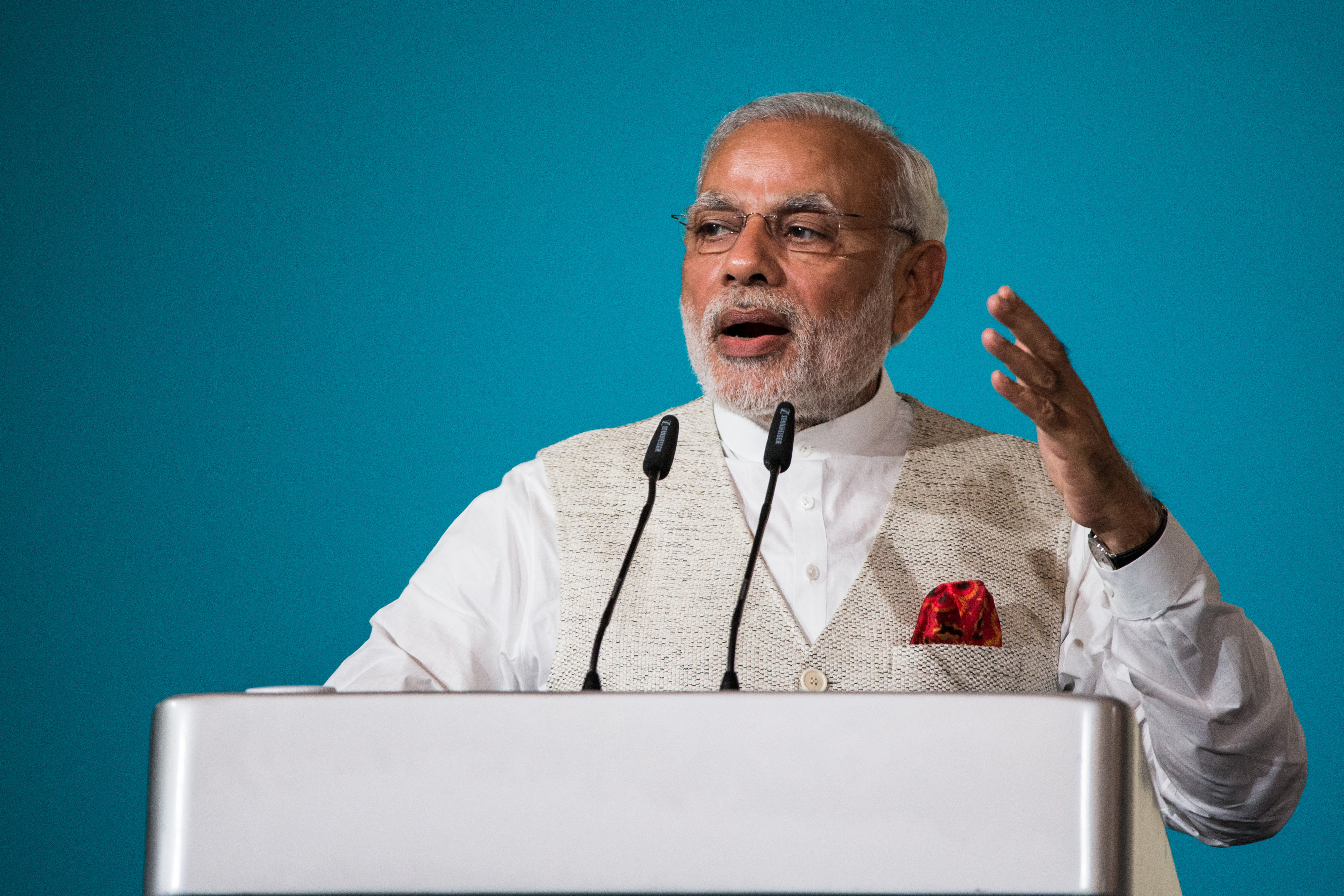 Narendra Modi, India's prime minister, gestures whilst speaking during the 37th Singapore Lecture held at the Shangri-La Hotel in Singapore, on Monday, Nov. 23, 2015.
