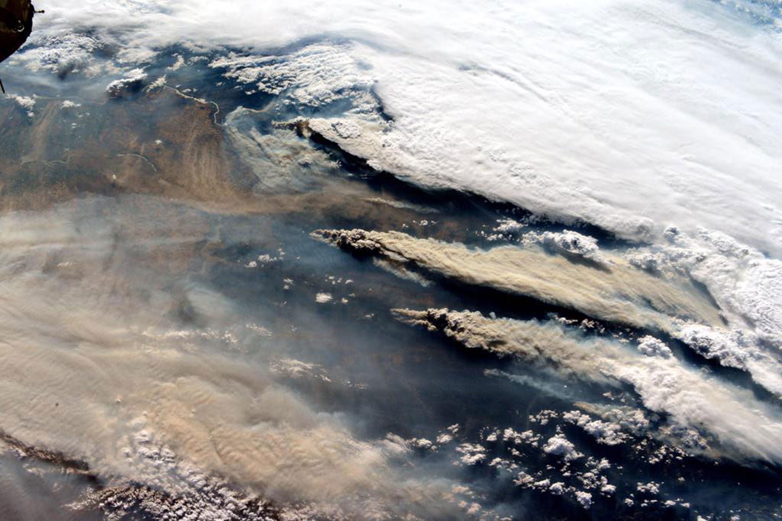 An image of the wildfires in the Northwest taken from the International Space Station released on Aug. 17, 2015.