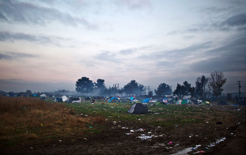 Tents at the Greek-Macedonian border, filled with migrants like the Qasus who are waiting to cross into Macedonia, near the northern Greek village of Idomeni, Dec. 5, 2015.