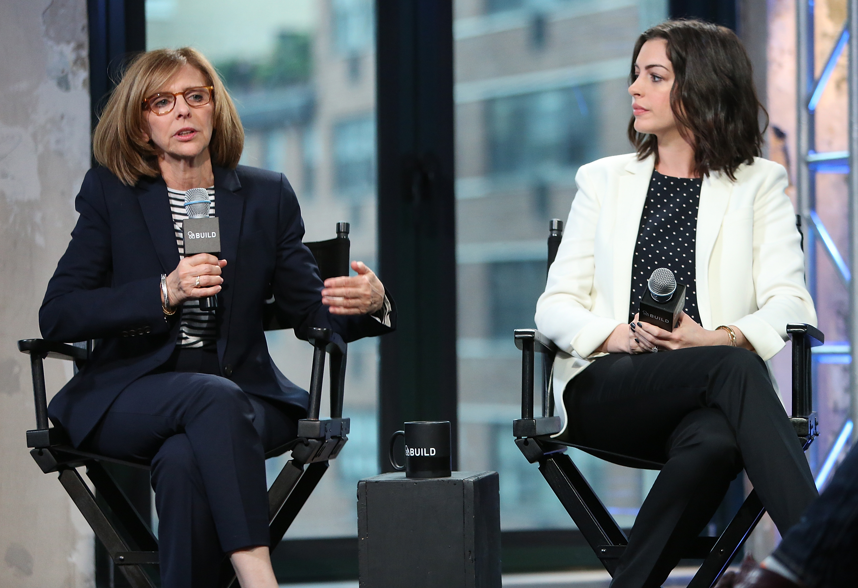 Director Nancy Meyers and Actress Anne Hathaway speak at AOL Build Presents  The Intern  at AOL Studios on Sept. 22, 2015 in New York City.