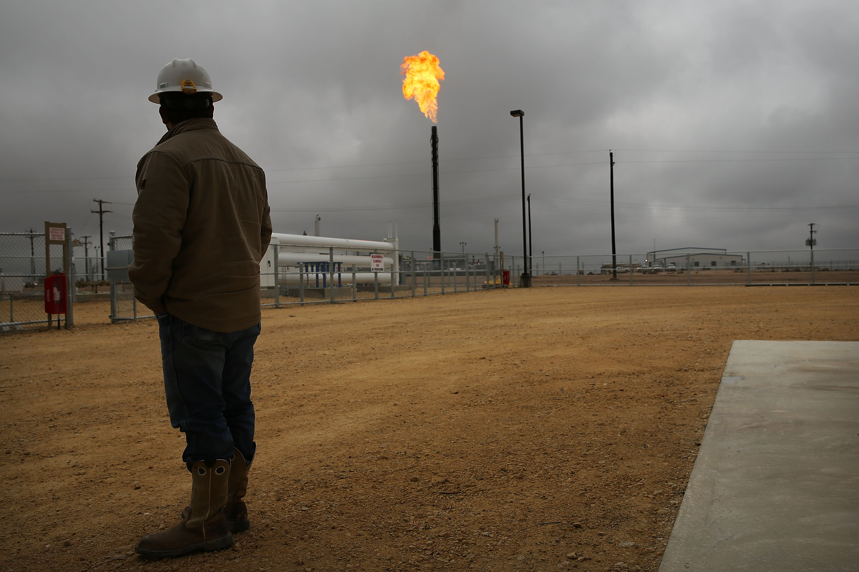 Flared natural gas is burned off at the Deadwood natural gas plant in Garden City, TX on Feb. 5, 2015.