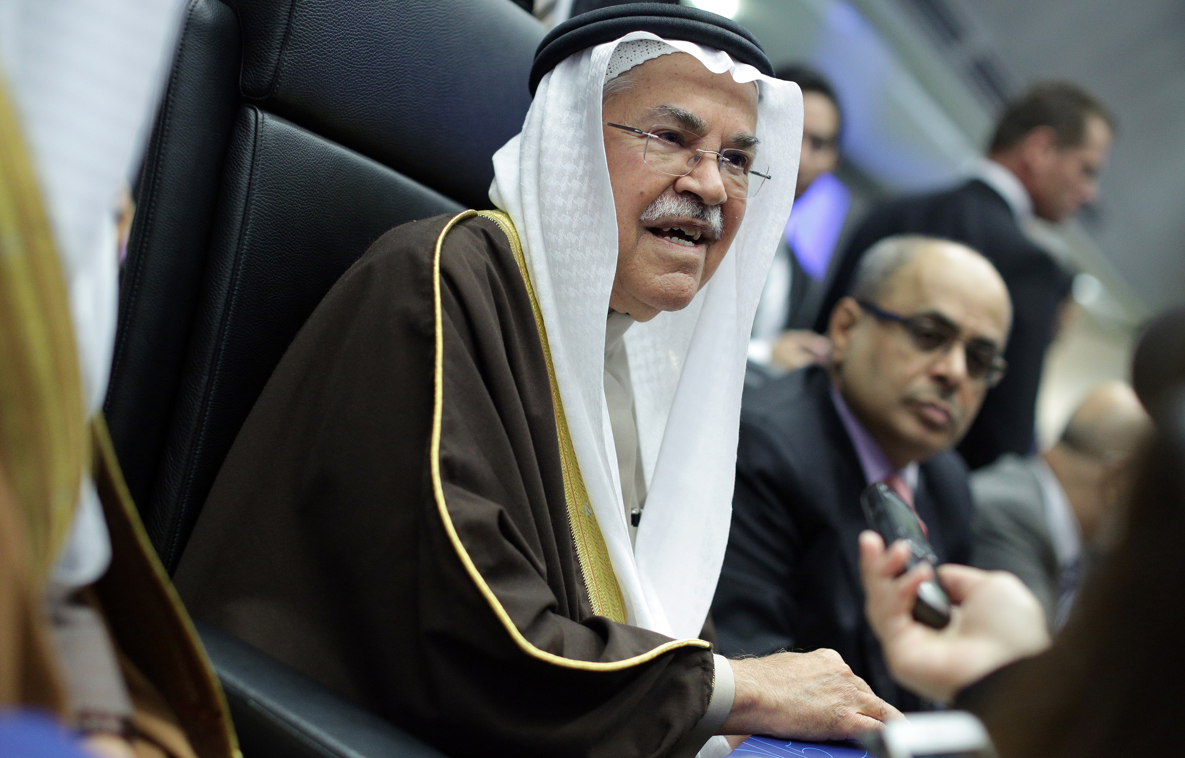Ali Bin Ibrahim al-Naimi, Saudi Arabia's petroleum and mineral resources minister, speaks to journalists ahead of the 168th Organization of Petroleum Exporting Countries (OPEC) meeting in Vienna, Austria, on Dec. 4, 2015.