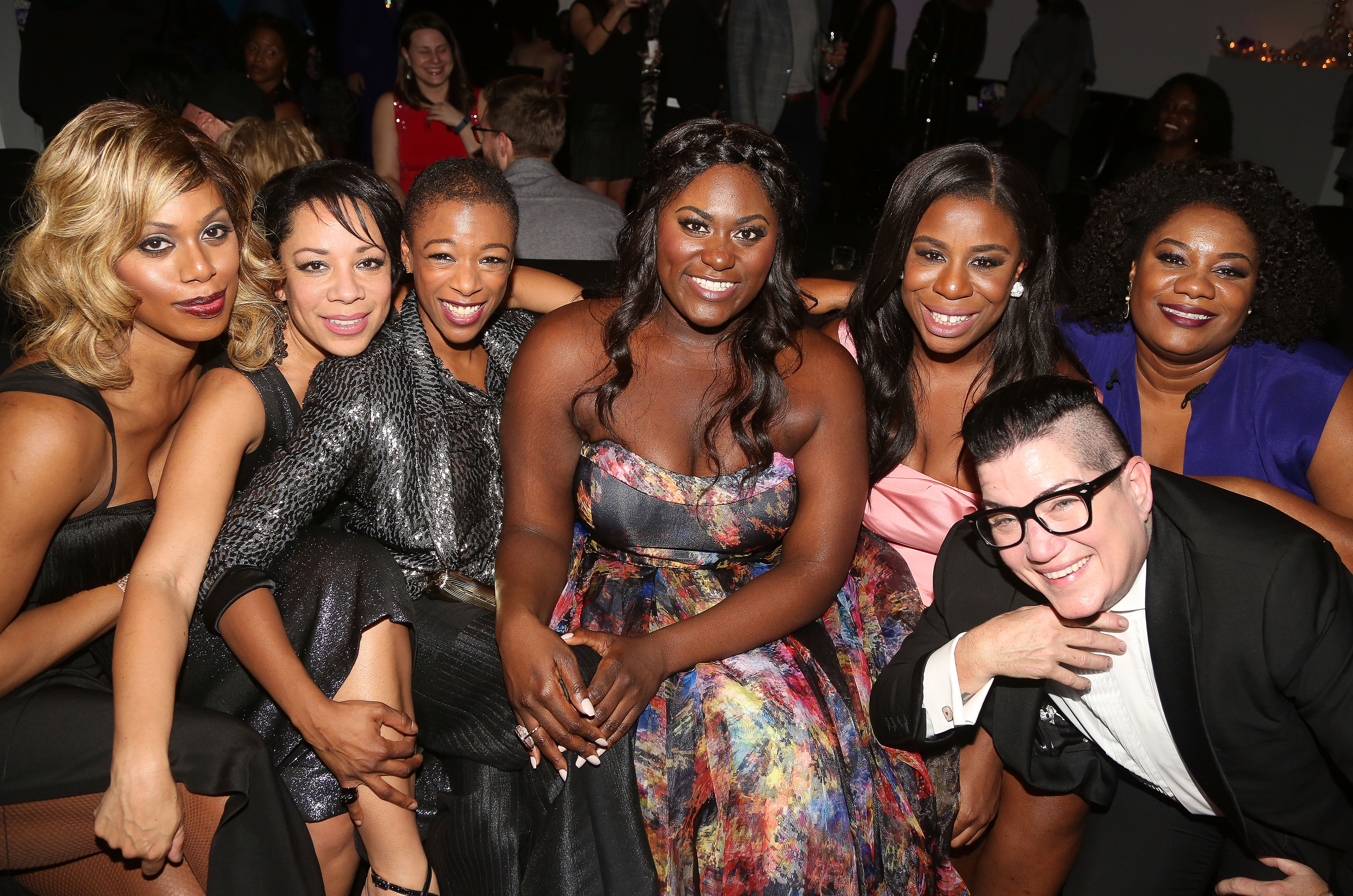 (L-R)'Orange is The New Black' stars Laverne Cox, Selenis Leyva, Samira Wiley, Danielle Brooks, Uzo Aduba, Lea DeLaria and Adrienne Moore pose at the opening night after party for 'The Color Purple' on Broadway on Dec. 10, 2015 in New York City.