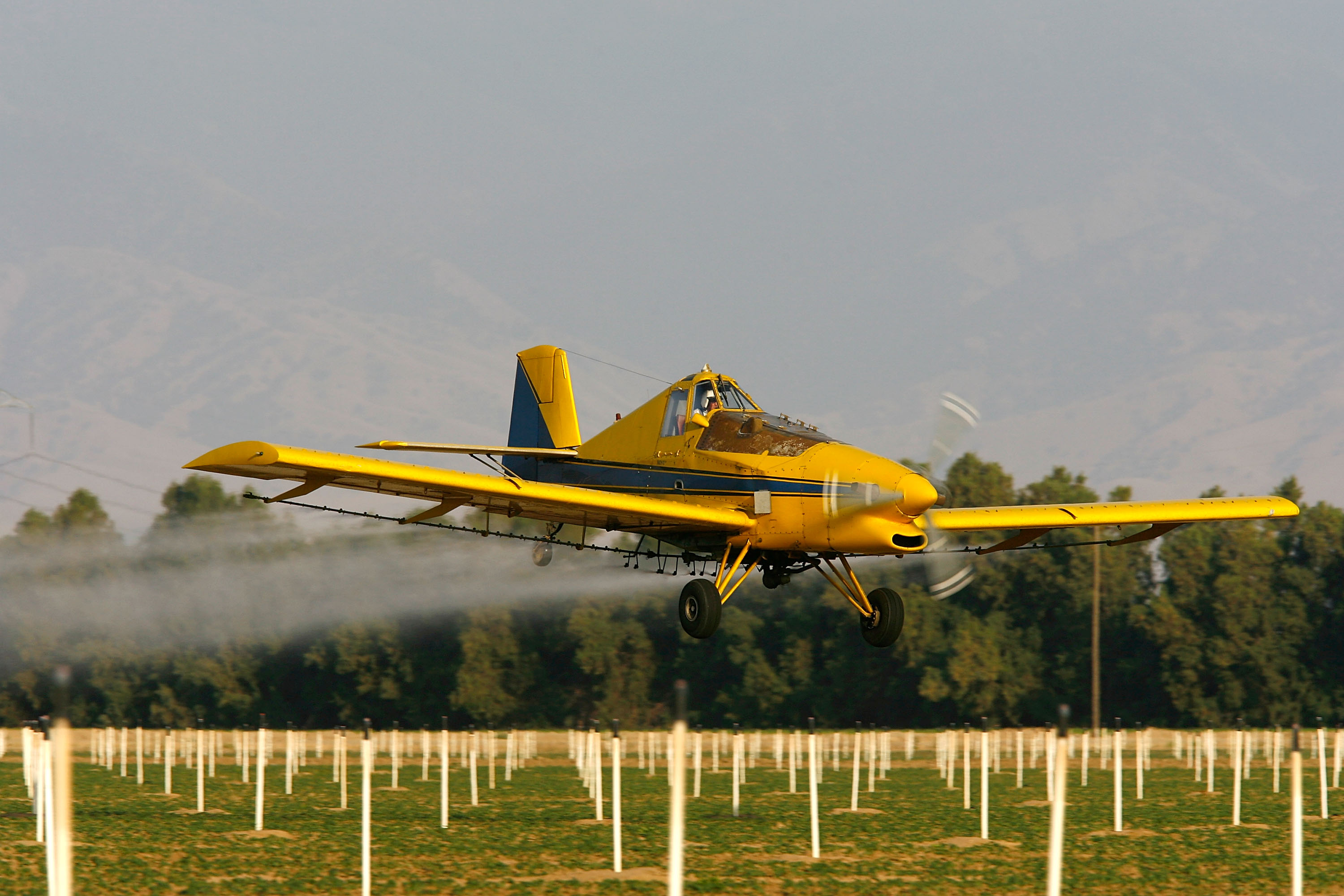 A crop duster airplane sprays Lanate, a powerful organophosphate pesticide banned in most European countries, on California fields in 2008.