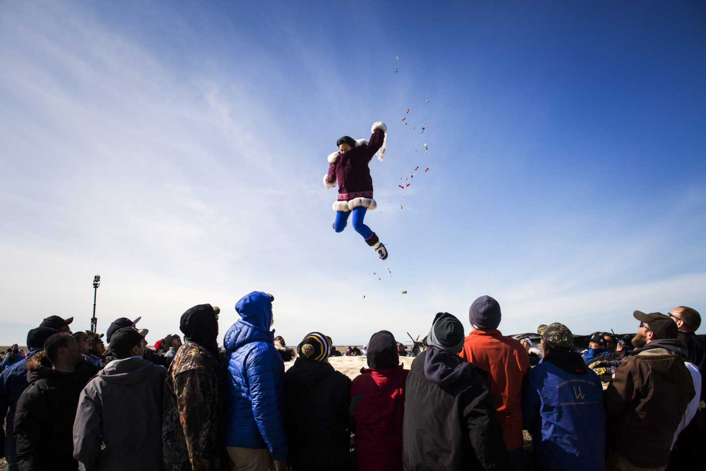 The traditional blanket toss at the annual whaling feast in Point Hope, Alaska on June 16, 2015.