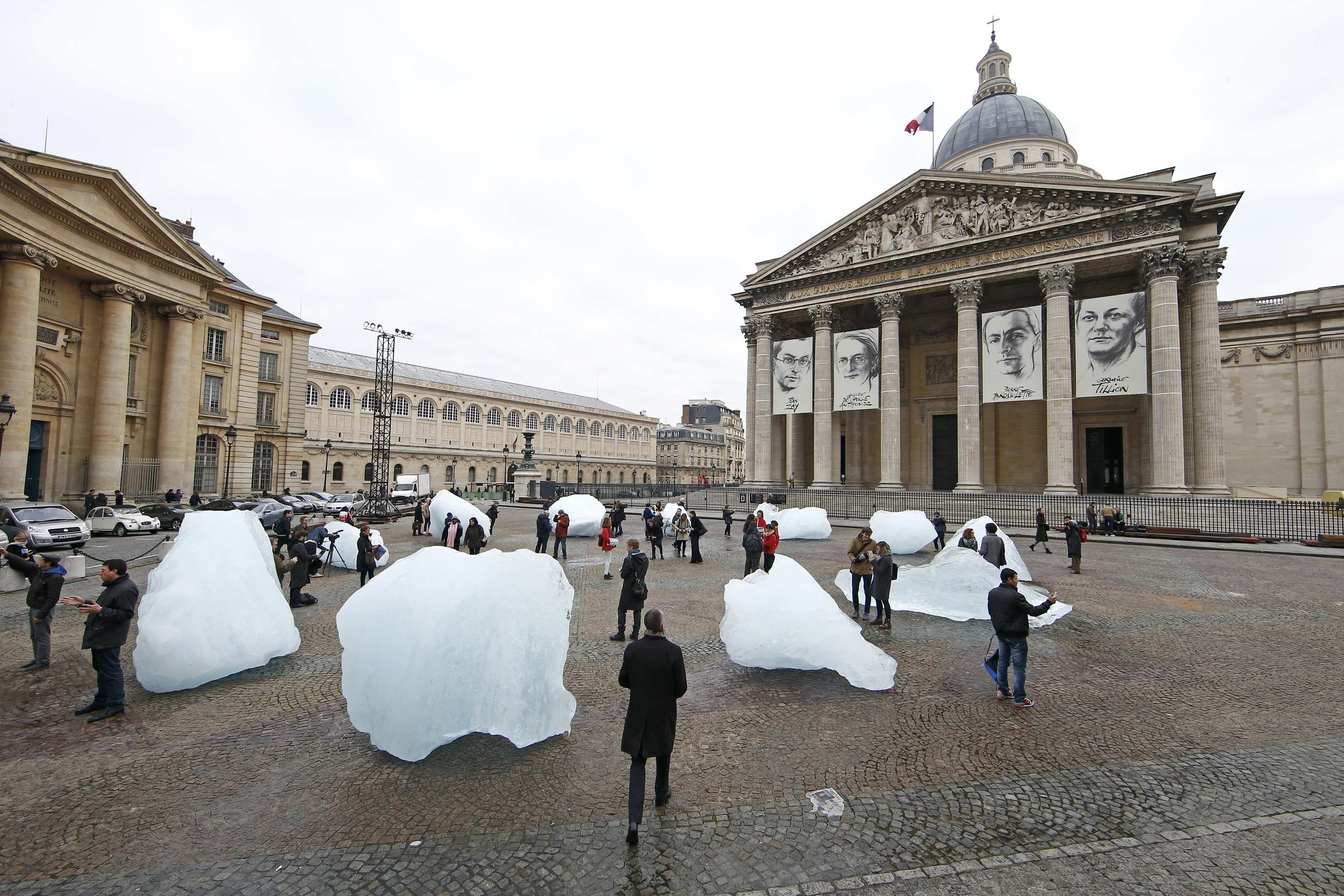 Ice blocks harvested in Greenland and installed on the Place du Pantheon as the COP21 continues in Paris on Dec. 3, 2015.