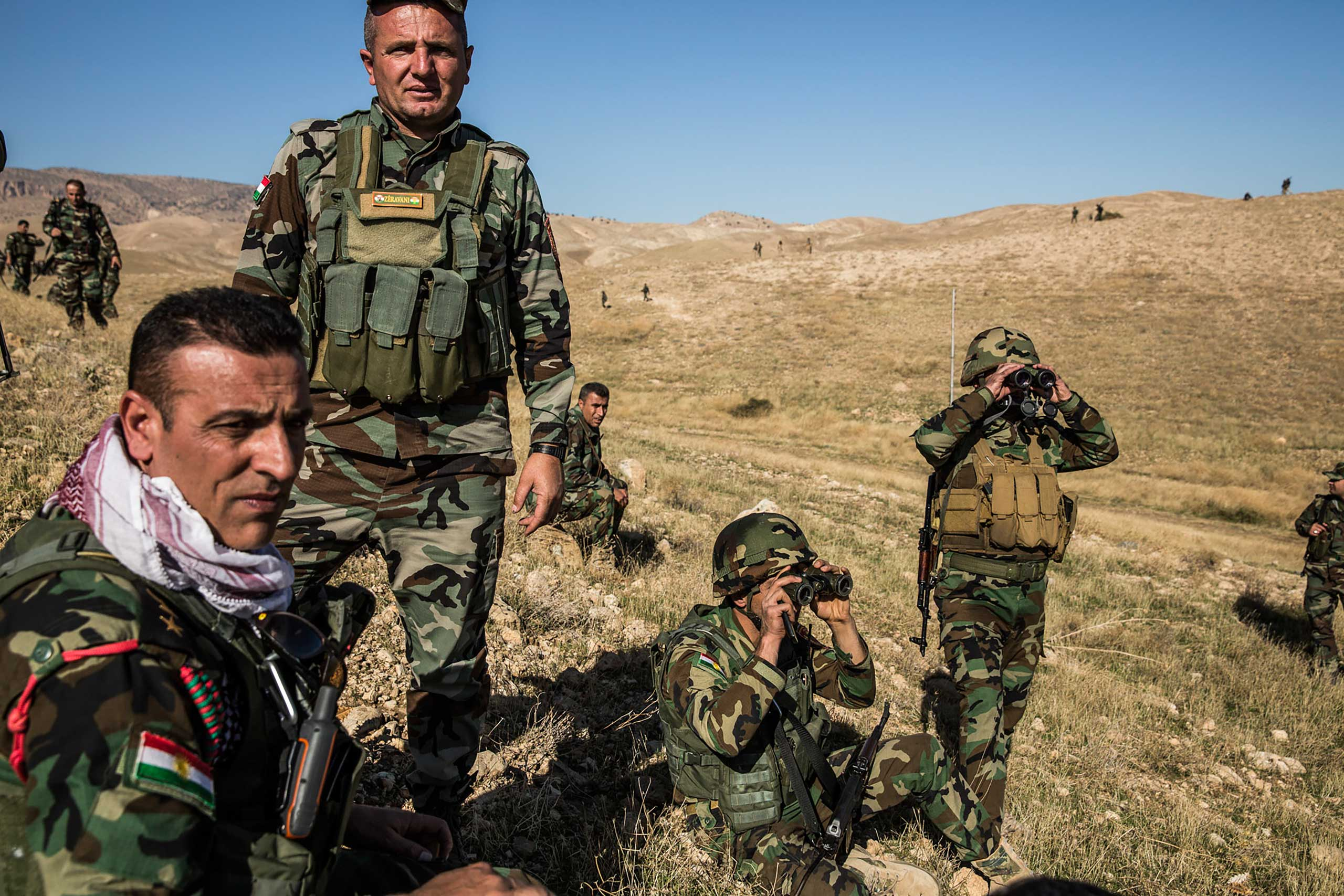 The New York Times: Kurds Launch Offensive Against ISIS in Mount Sinjar, IraqPesh merga fighters watched from a hilltop as vehicles from their unit deployed across Highway 47, below them.