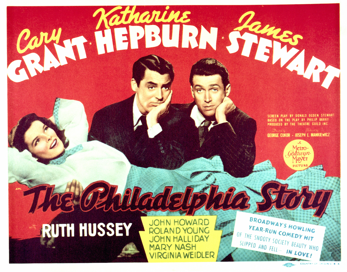 A poster for George Cukor's 1940 romantic comedy 'The Philadelphia Story', starring (left to right) Katharine Hepburn, Cary Grant and James Stewart.