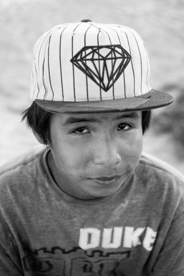 A Lakota youth is seen at the Pine Ridge Indian Reservation in S.D.