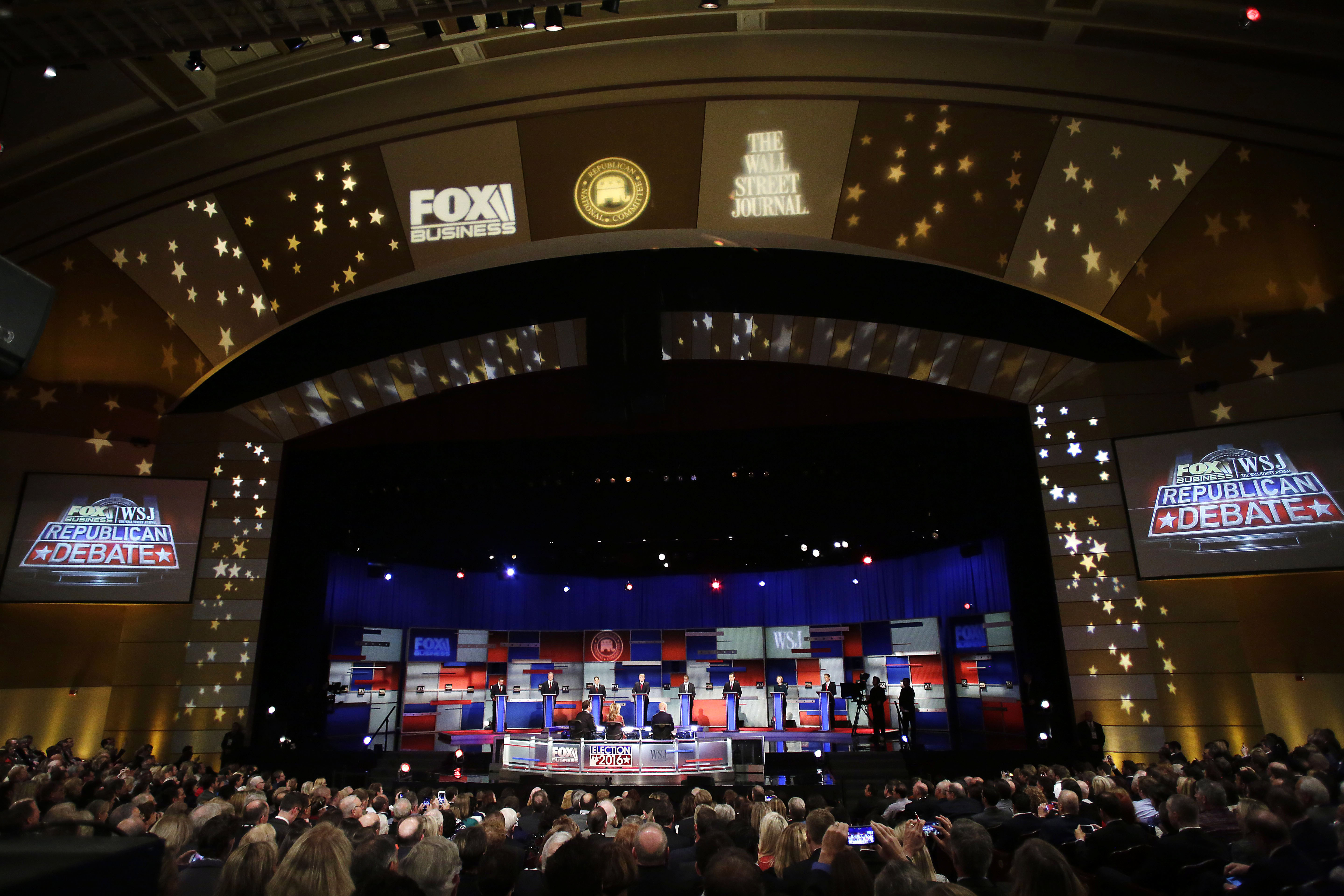 The stage during the Republican Presidential Debate hosted by Fox Business and The Wall Street Journal on Nov. 10, 2015 in Milwaukee.
