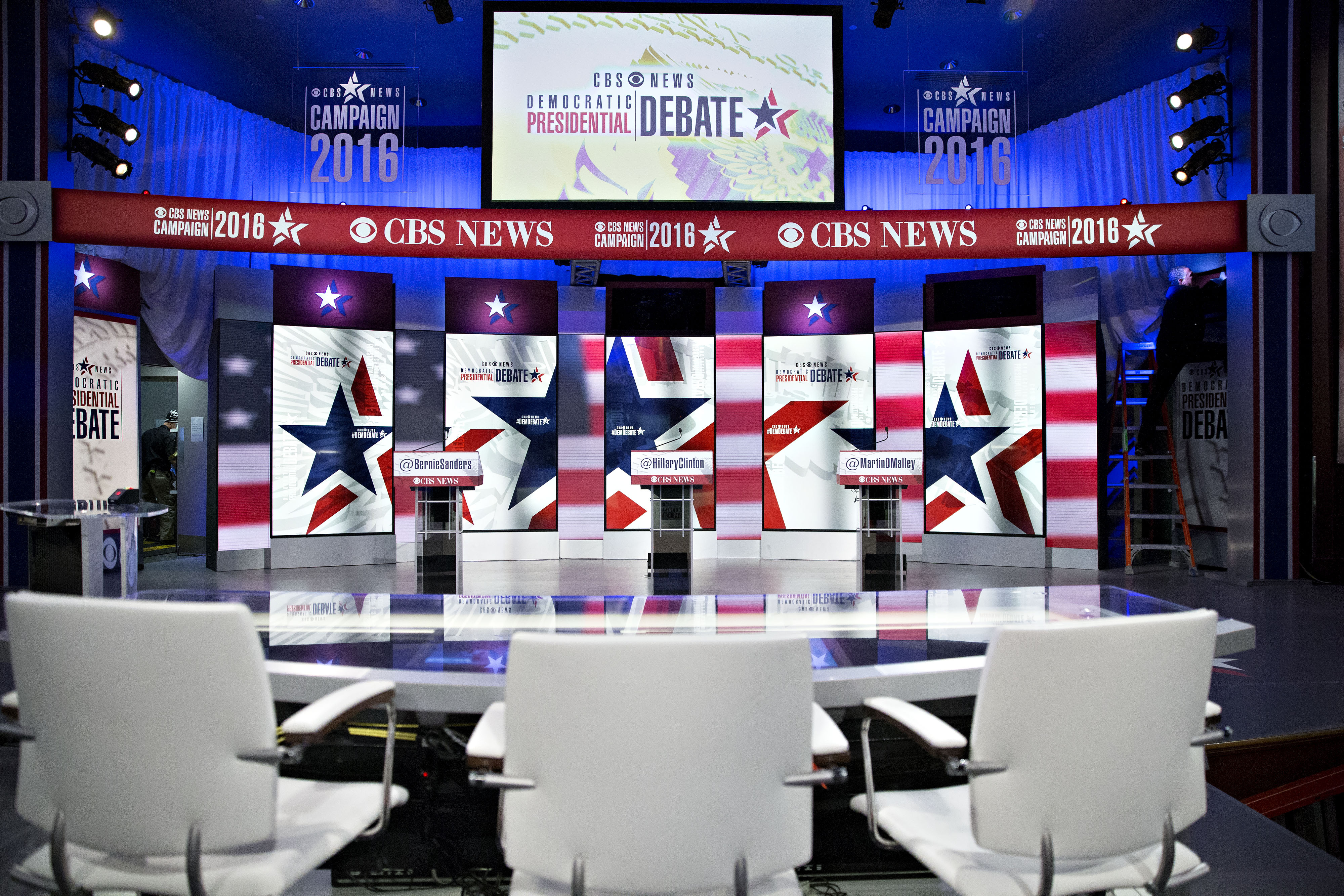 The Democratic presidential candidate debate venue at Drake University in Des Moines, Iowa, on Saturday, Nov. 14, 2015.