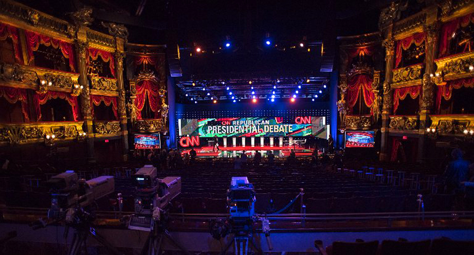 The stage for the set for the Republican presidential debate at the Venetian Hotel.
