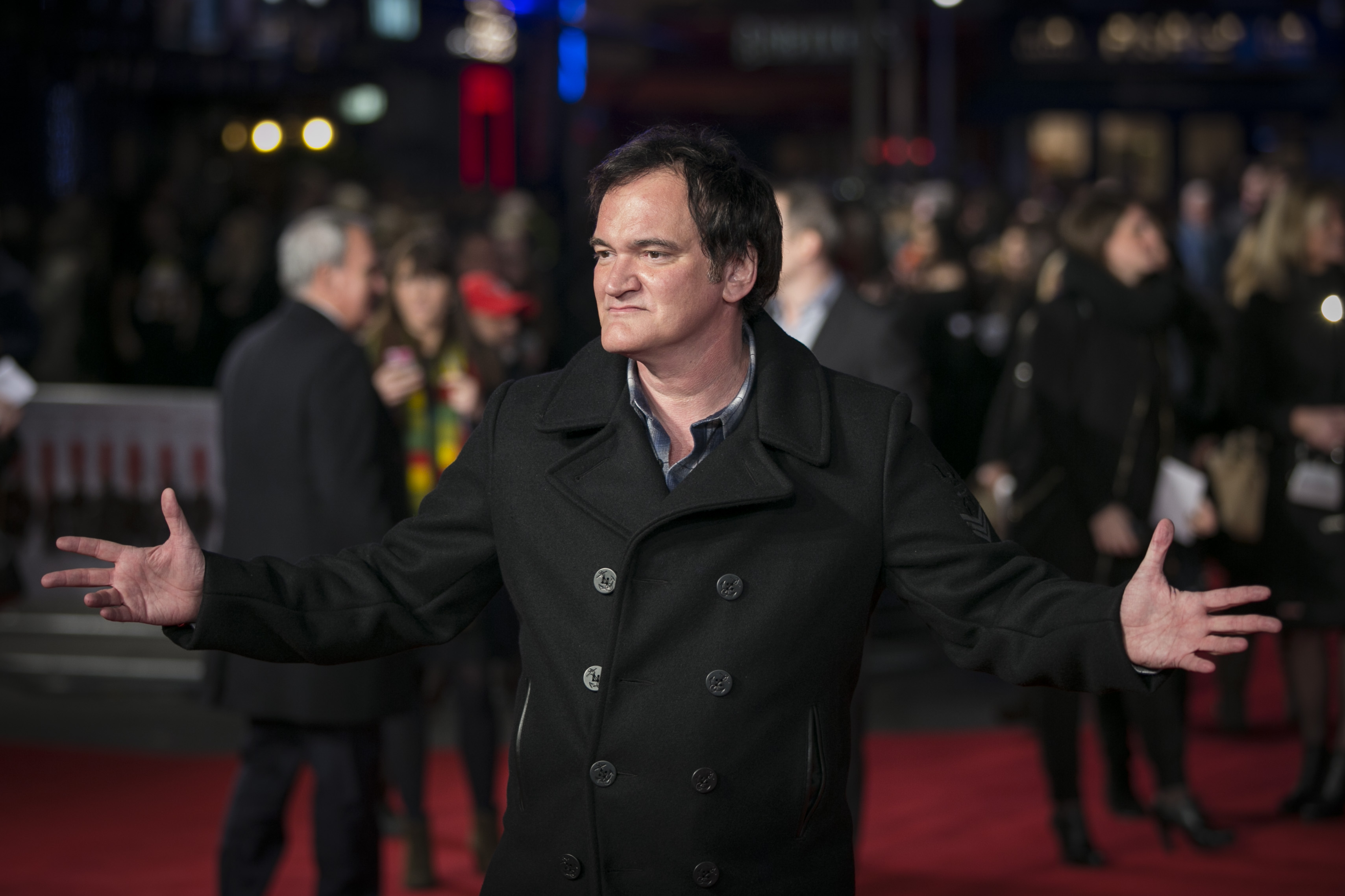 Quentin Tarantino at the London premiere of  The Hateful Eight.